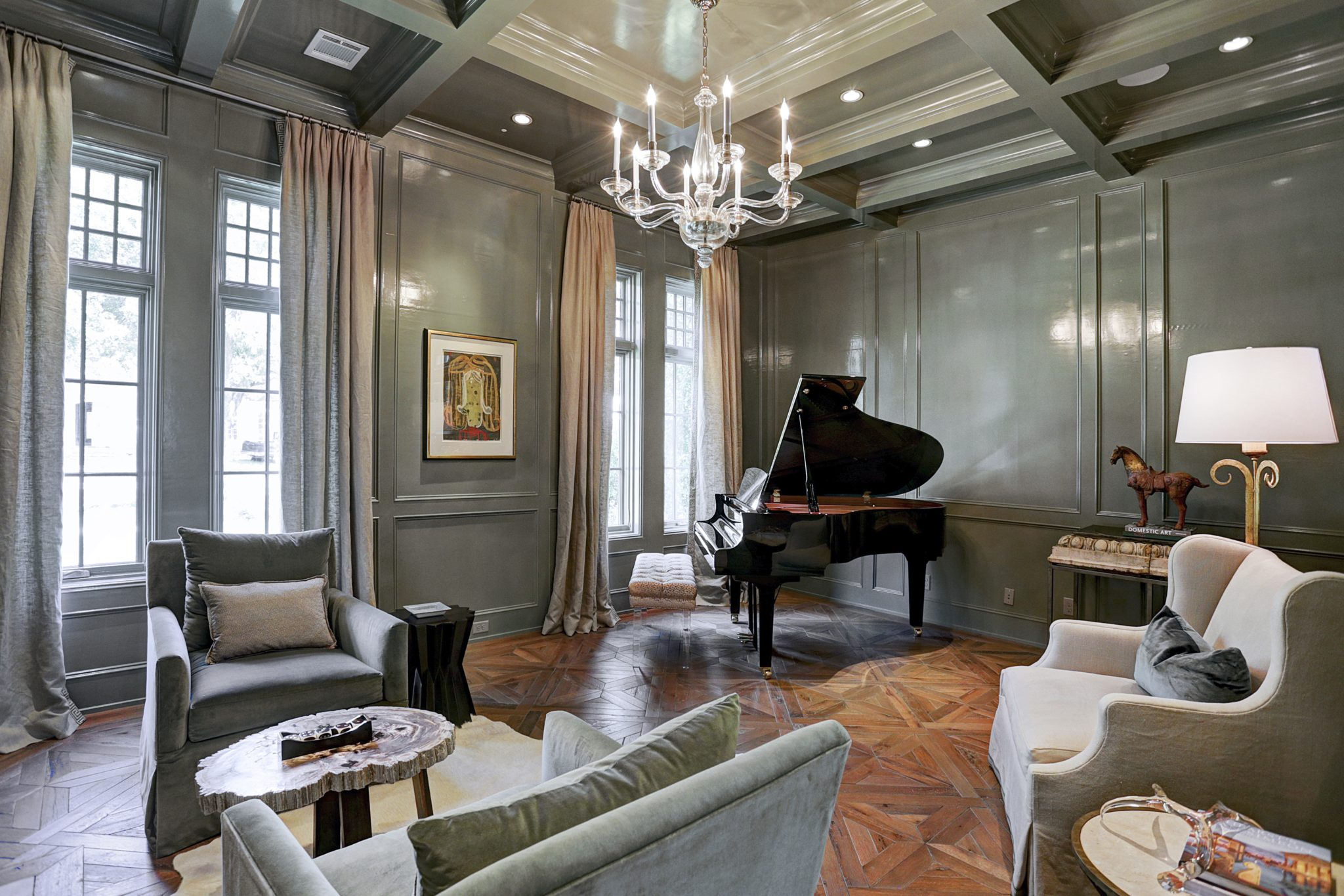 Music room with lacquered walls by Cindy Witmer Designs