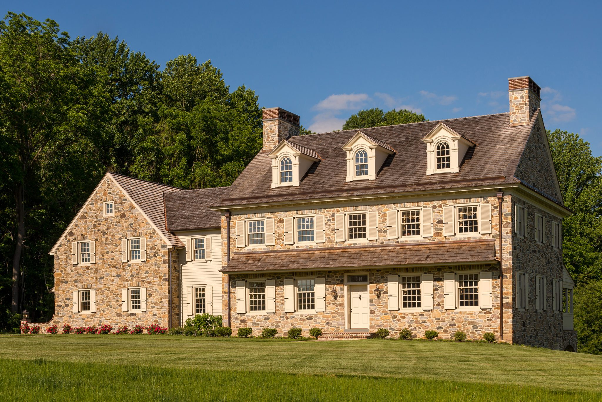 Traditional Pennsylvania stone farmhouse with Georgian details by Period Architecture