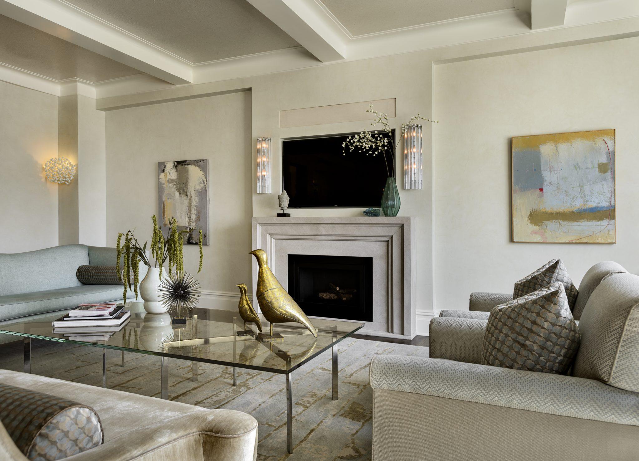 Transitional Riverside Drive renovation -living room. By Robin Baron Design