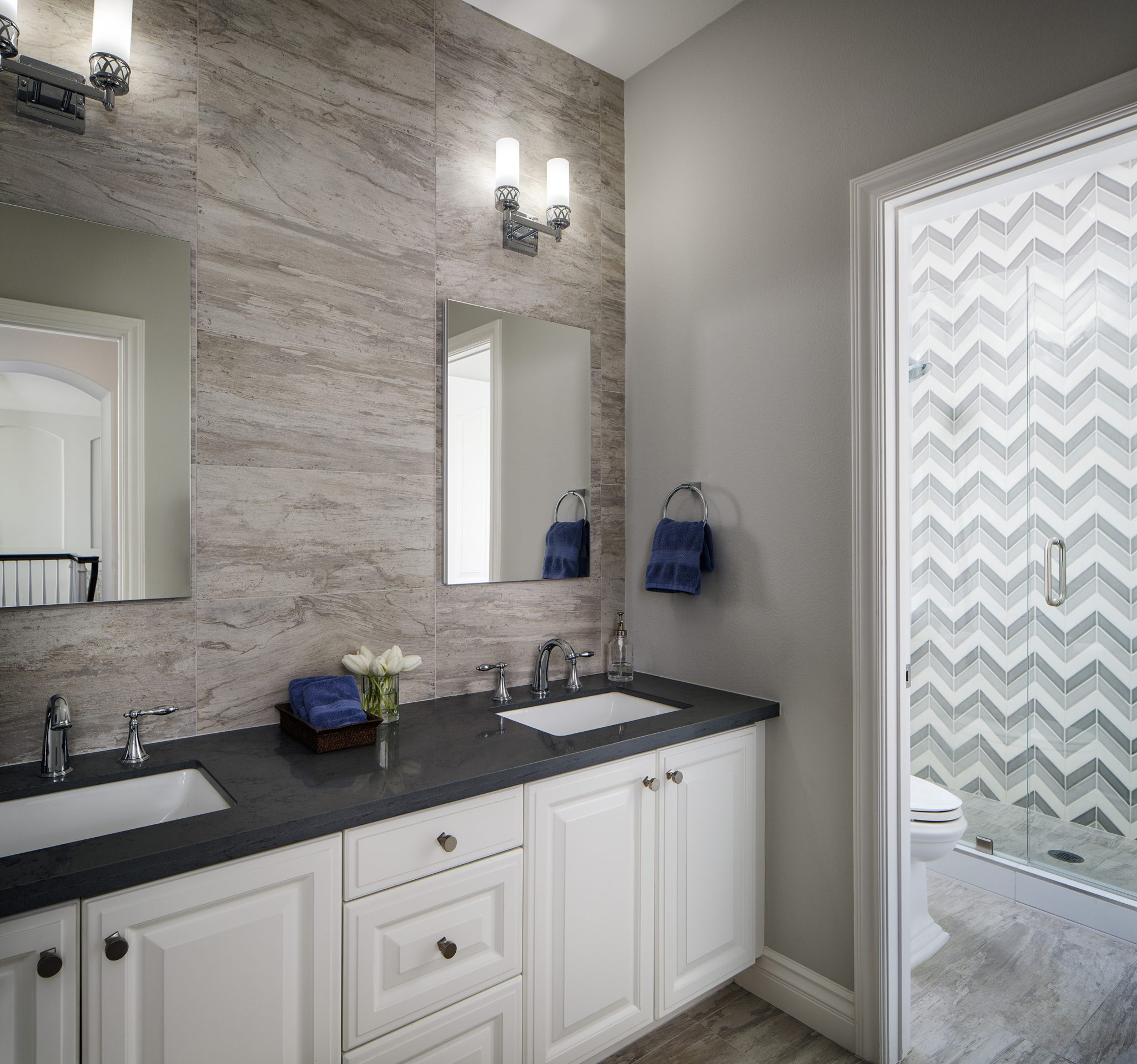 Grey & White Guest Bath w/ Chevron & Linen Look = Soothing & Cheery by SUZA DESIGN