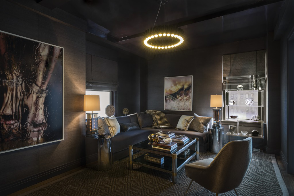 Moody media room with vintage pieces and a lacquered ceiling by Rinat Lavi Interiors