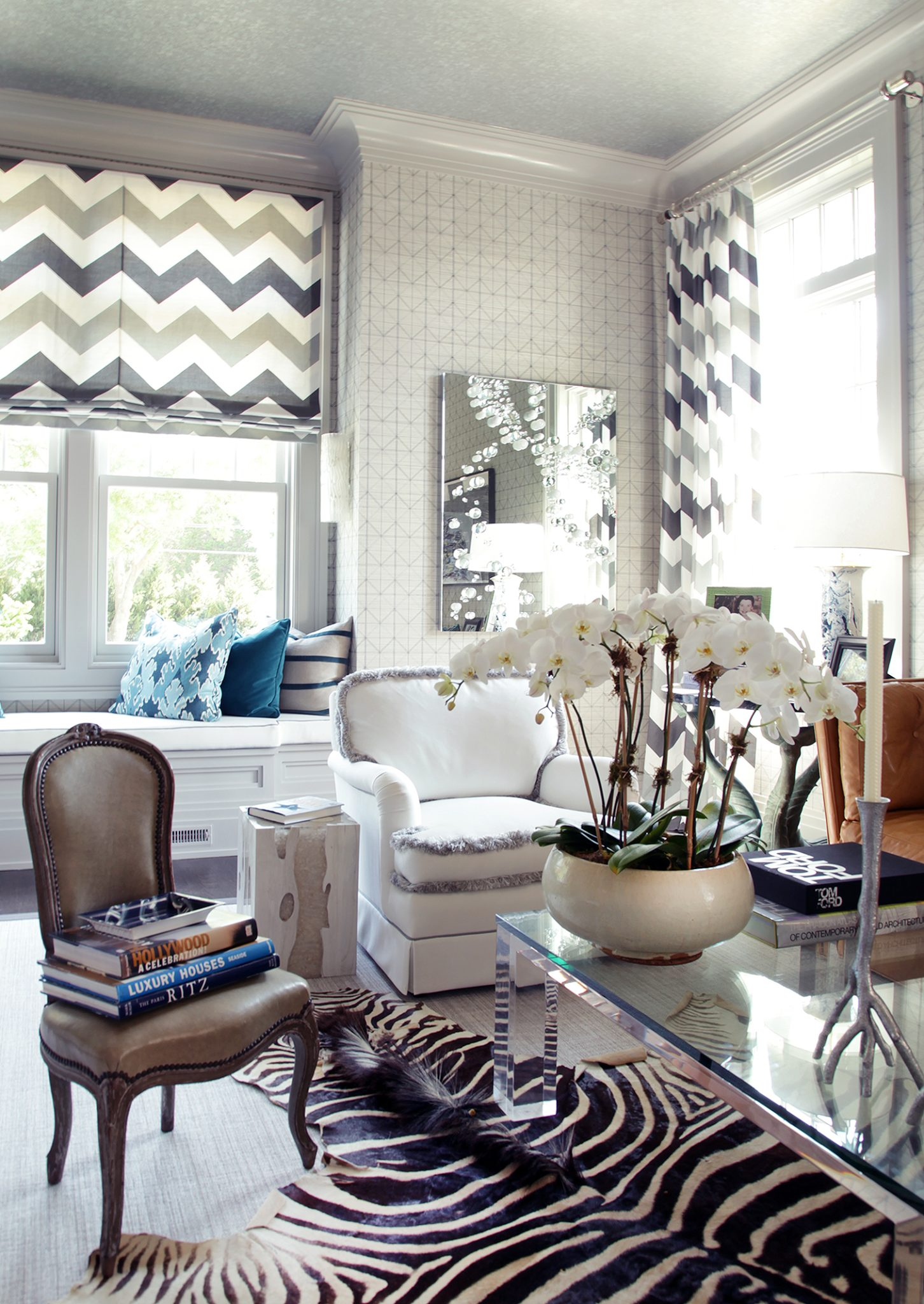 The Hamptons Designer Showhouse- library room with zebra rug, chevron curtains by Greg McKenzie Designs