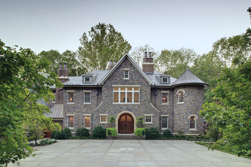 Stone Country Estate Courtyard and Front Elevation by Island Architects