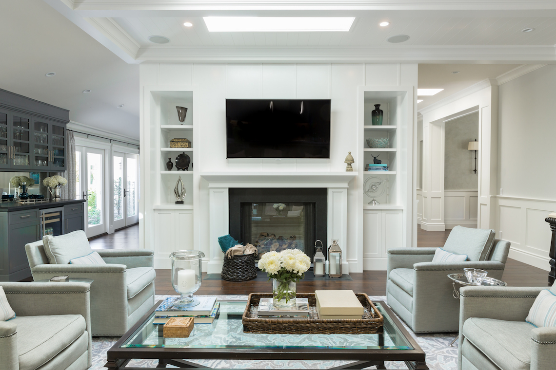 Great room with custom woodwork and cabinetry by Gilmore Design Studio
