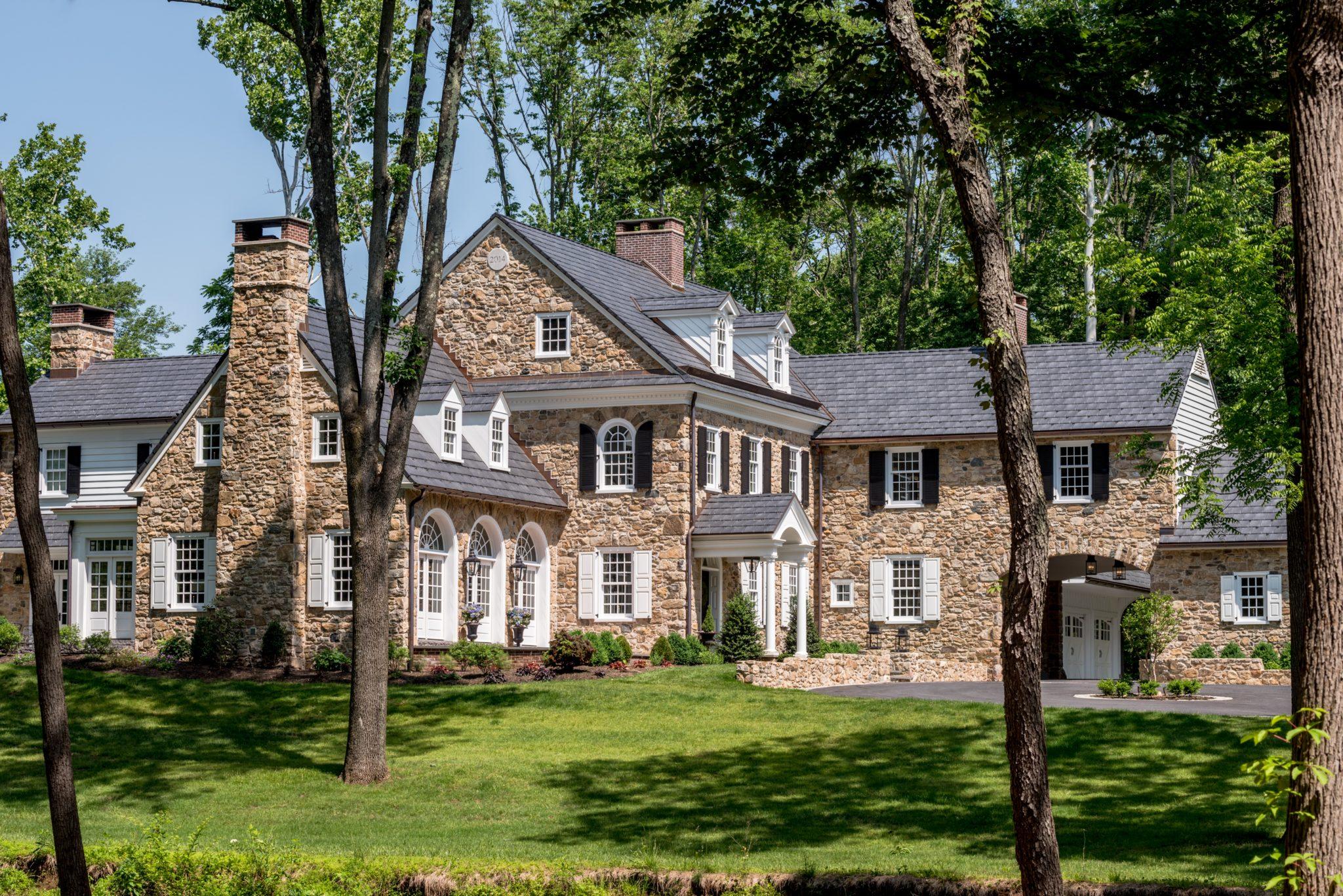 Colonial Revival Farmhouse with porte cochere - Montogomery County, Pennsylvania by Period Architecture