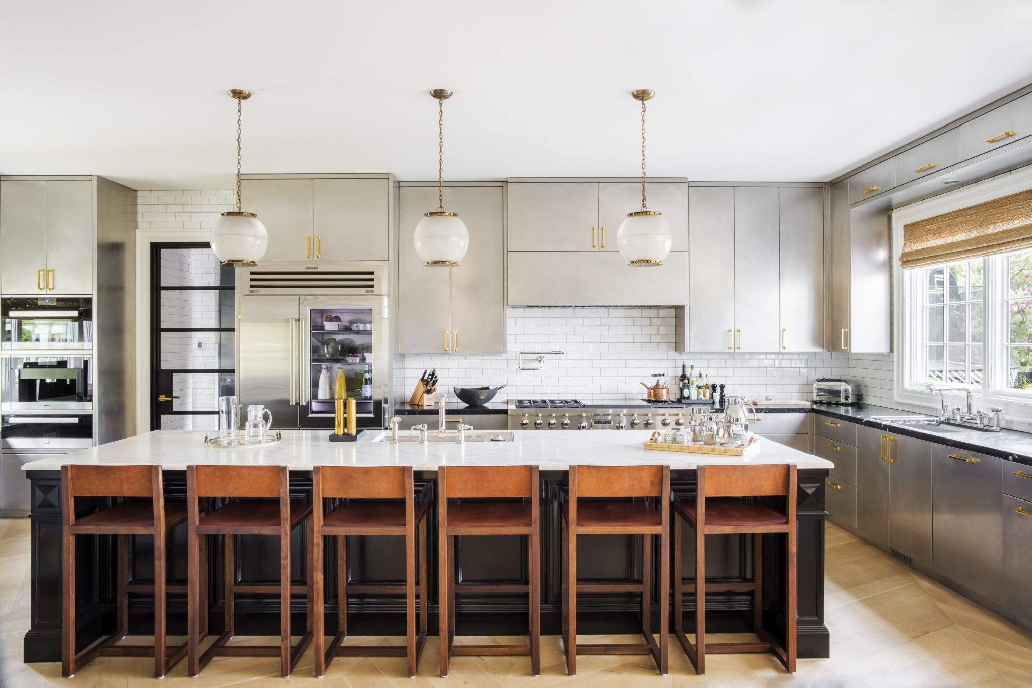 Seattle kitchen with Square Guest counter stools by BDDW Furniture. By Nate Berkus Associates