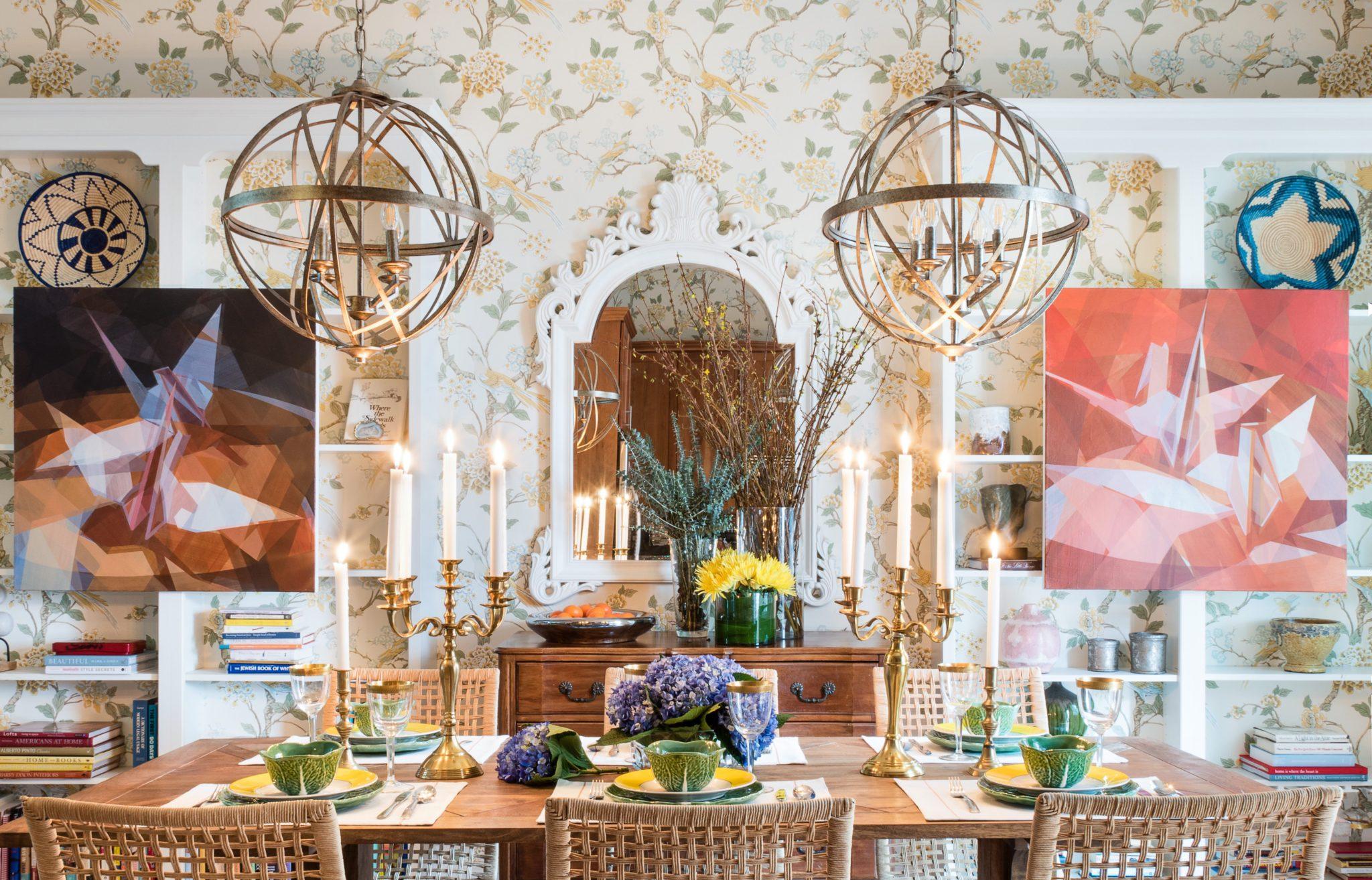 Maximalist dining room colorful floral wallpaper pendant bookcase art candelabra by Dane Austin Design