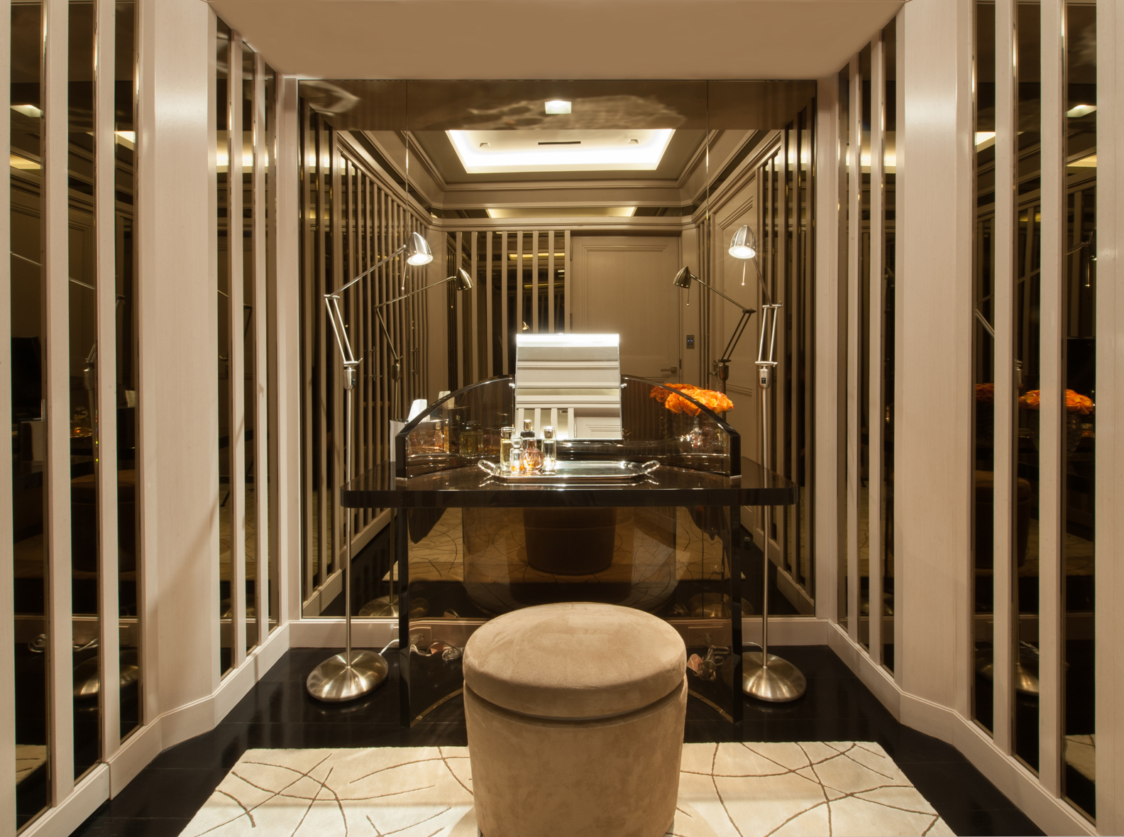 Park Avenue Apartment, Modern Dressing room with Mirror Paneling by Douglas C. Wright Architects