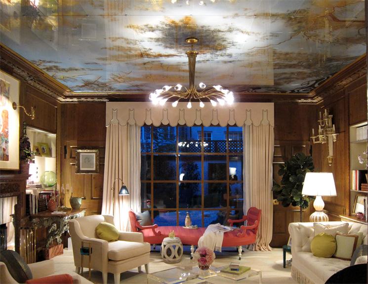 A library eglomisé ceiling by Miriam Ellner