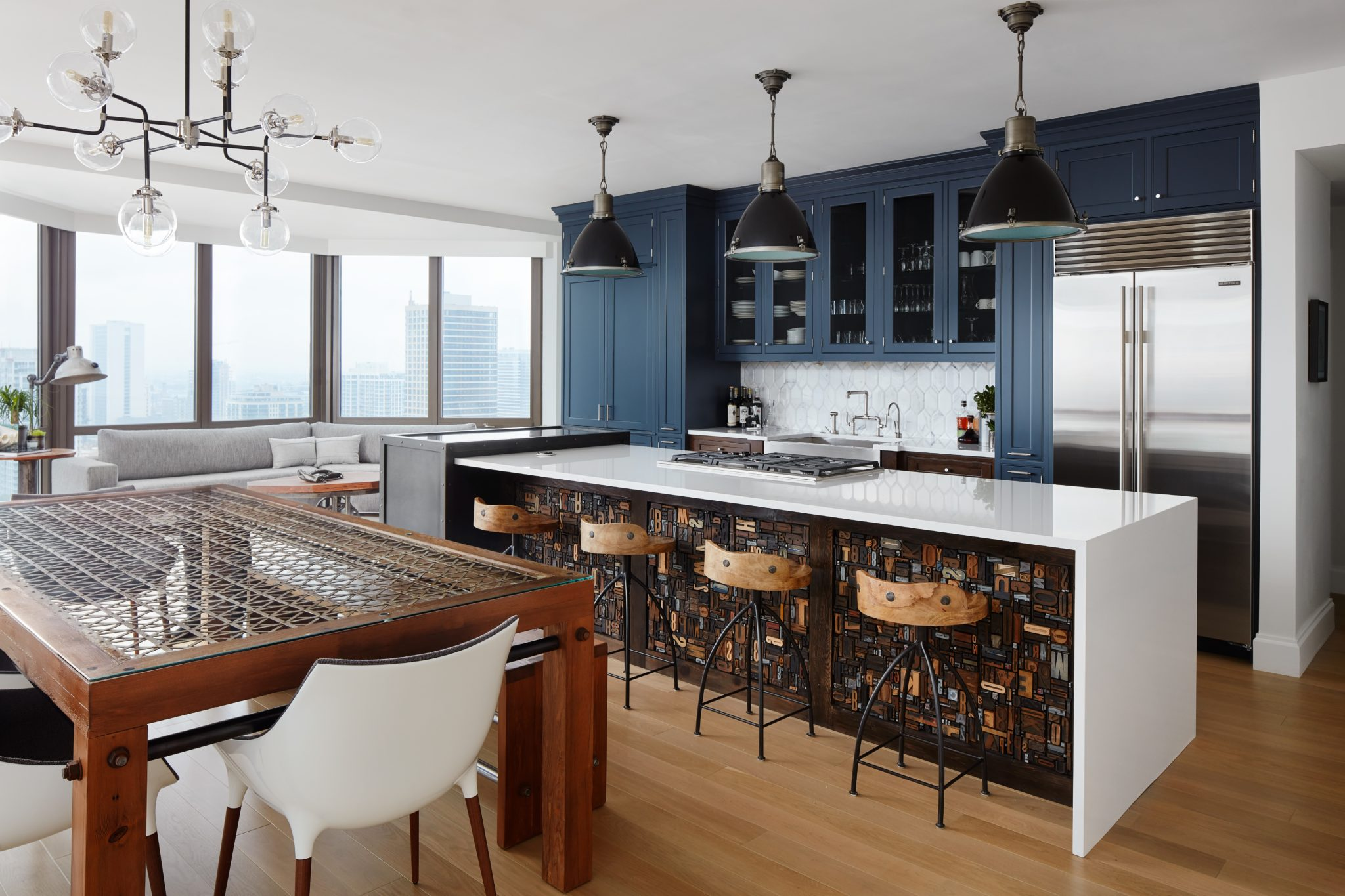 Mathematician's Downtown Penthouse Kitchen - Conversation Starter Unique Island by Inspired Interiors