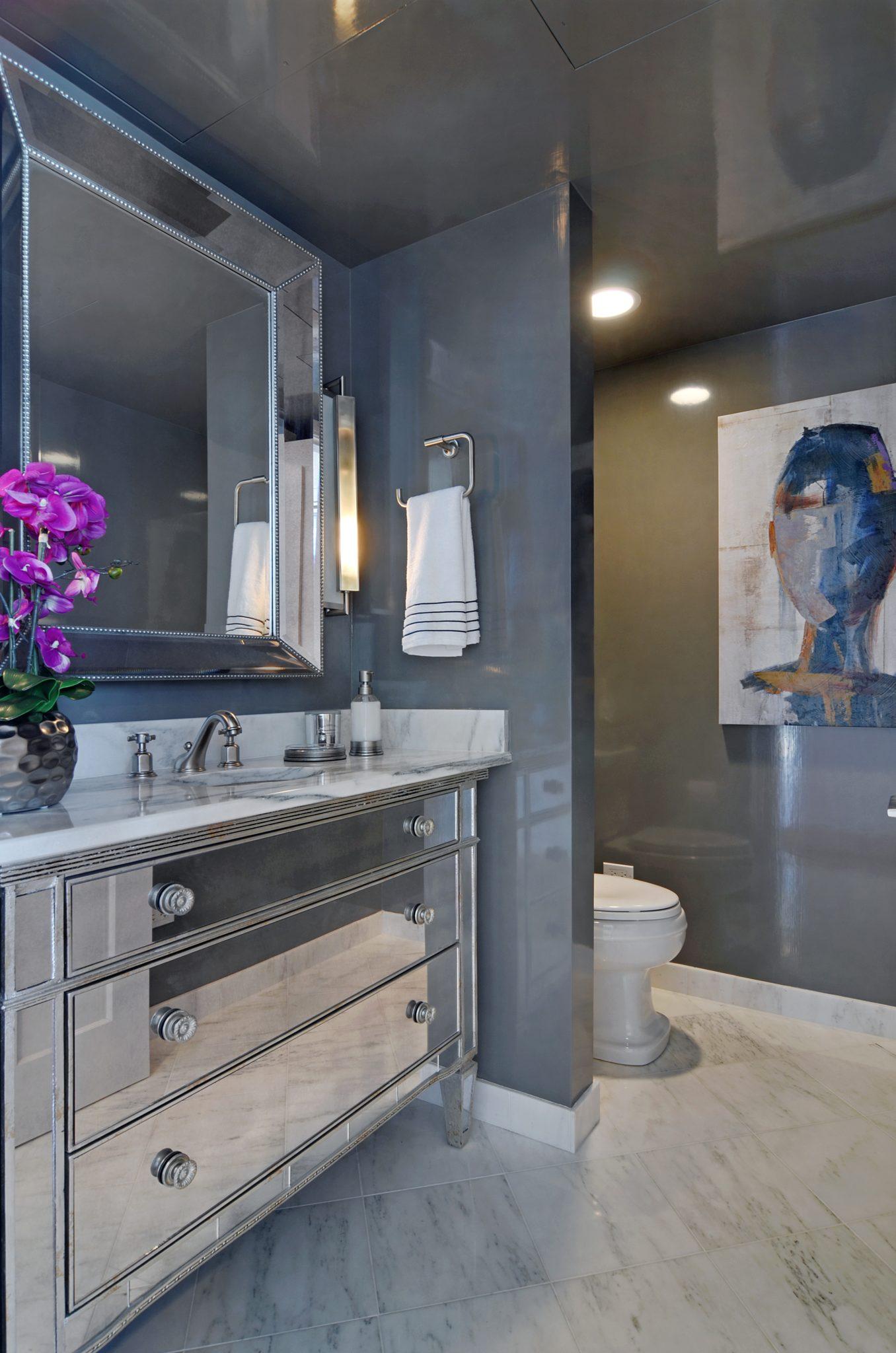 Urban organic Chicago high-rise powder bath by Amanda Webster Design, Inc.