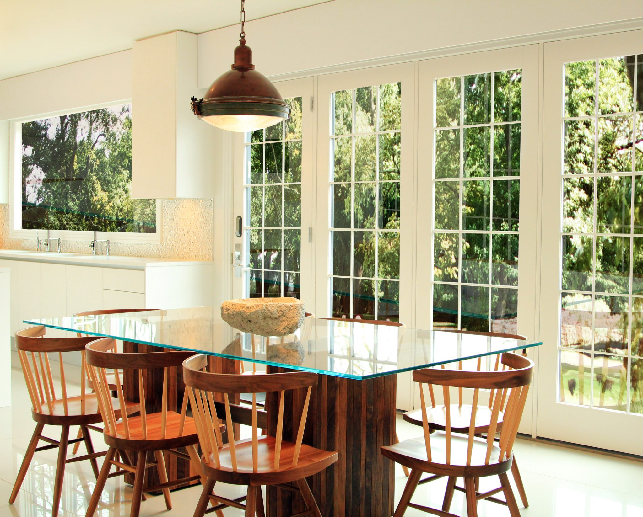 New Jersey Shore Beach House Breakfast Nook with Industrial Pendant Light by DiMare Design