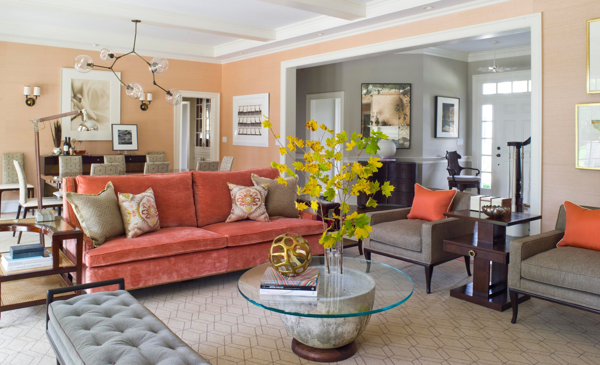 Coral and taupe great room by S.B. Long Interiors