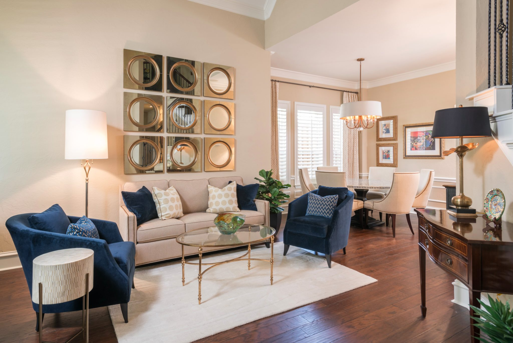 Contemporary living and dining space by Nicole Arnold Interiors