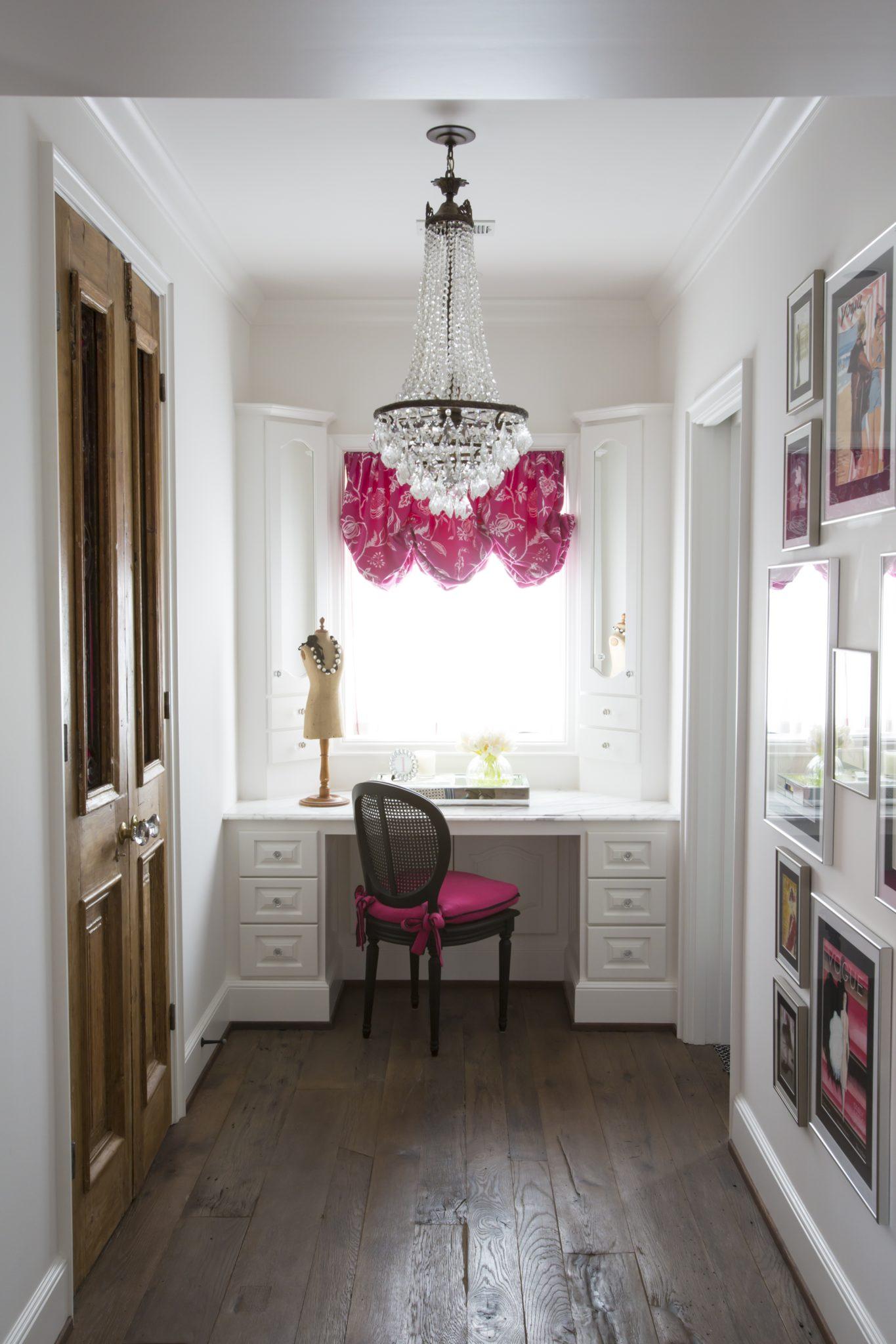 Girls vanity area inspired by Parisian fashion- reclaimed doors & bright fabrics by Triangle Interiors