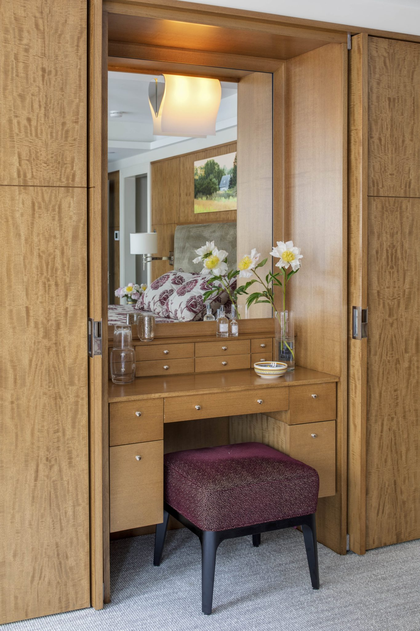Custom Dressing Table in Stained Anigre by Huth Architects
