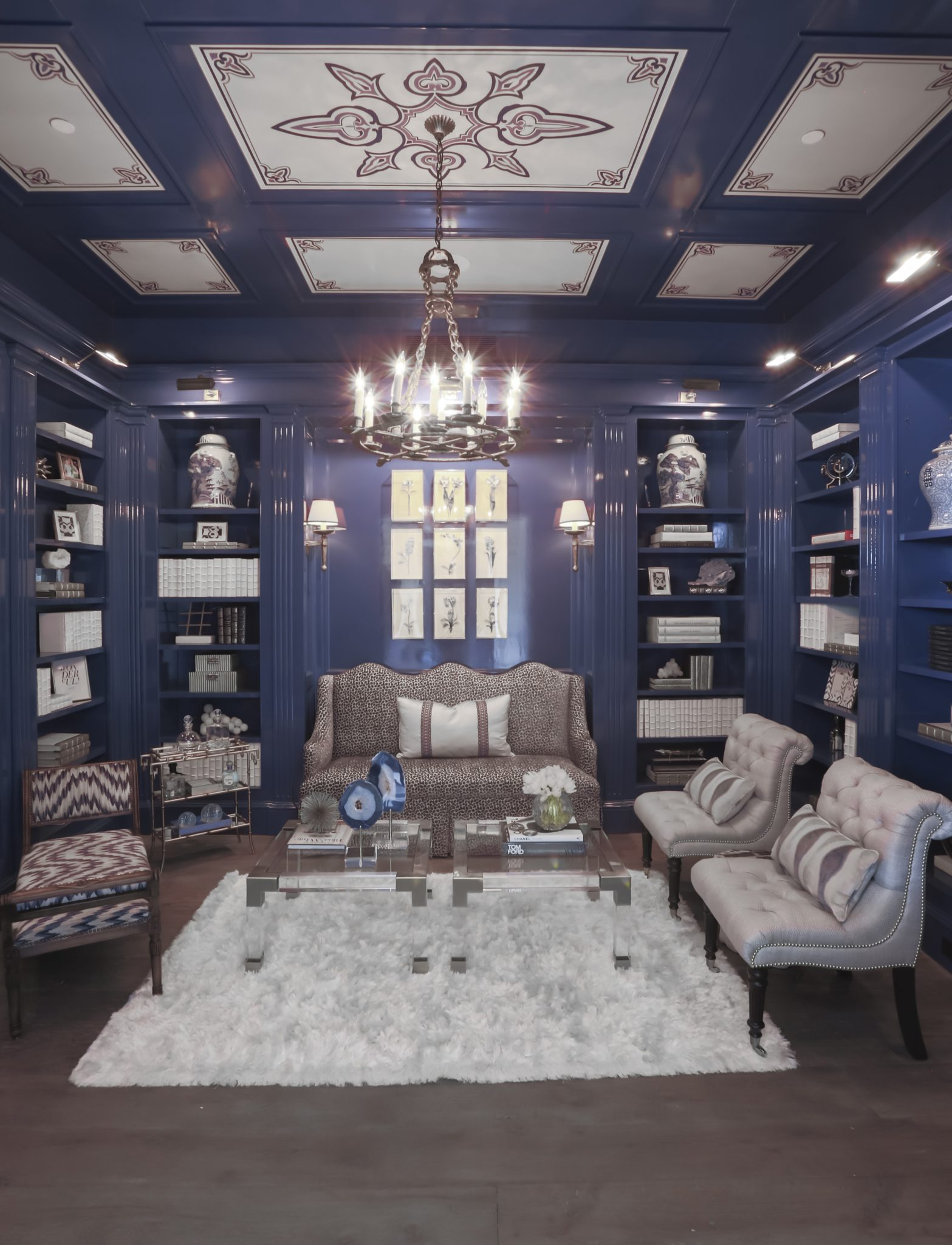 Blue and white study with lacquered walls, handinted ceiling andantique lighting by Triangle Interiors