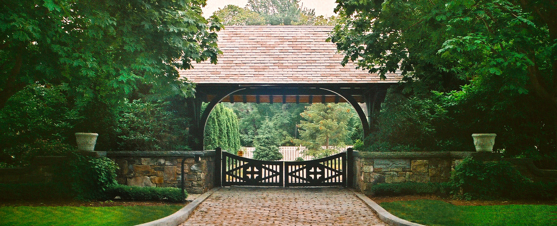 Historically Inspired Estate Entry by Stroudwater Design Group, Inc.