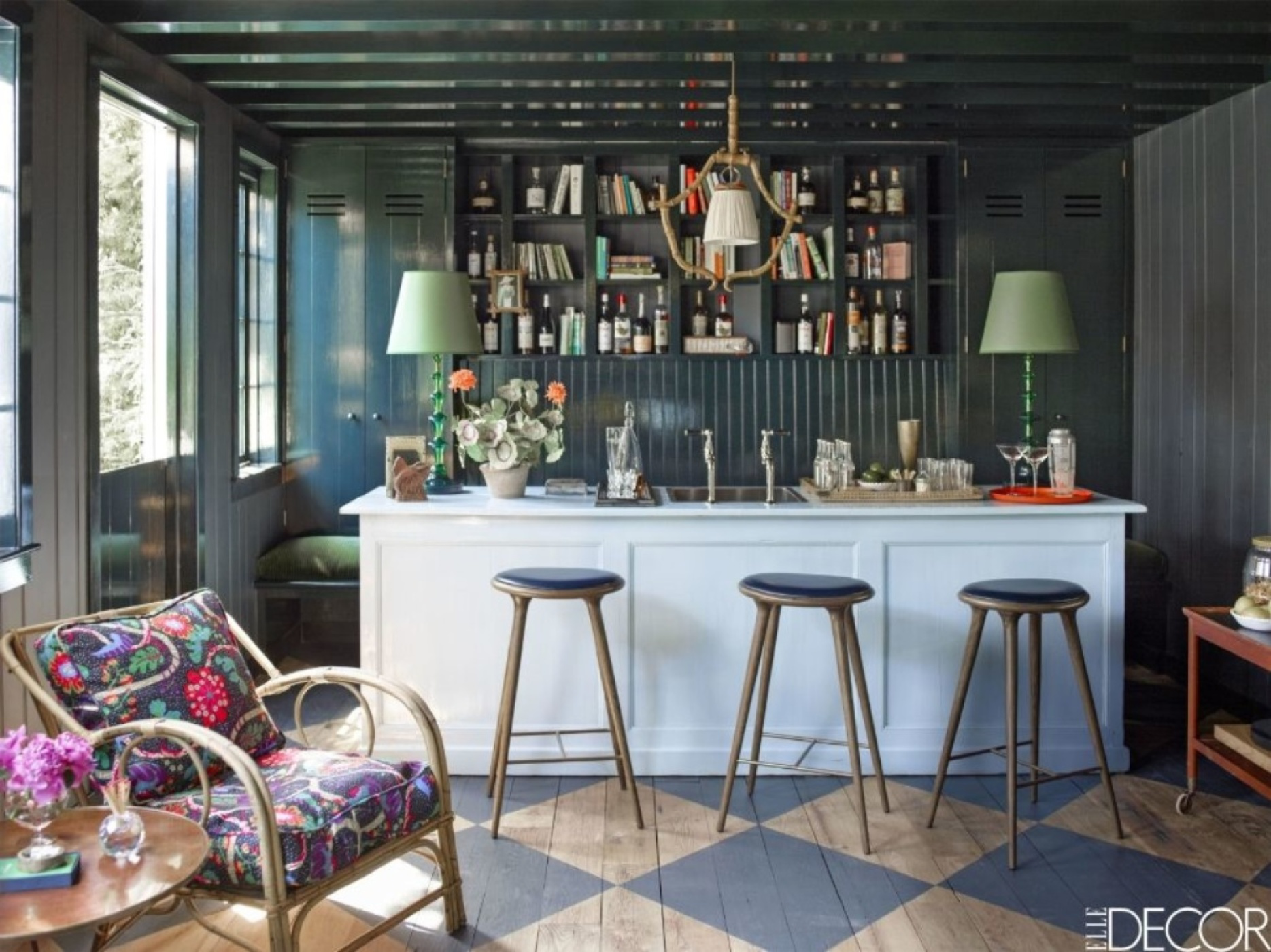 Bar with deep walls and ceiling, along with eclectic seating by Rita Konig