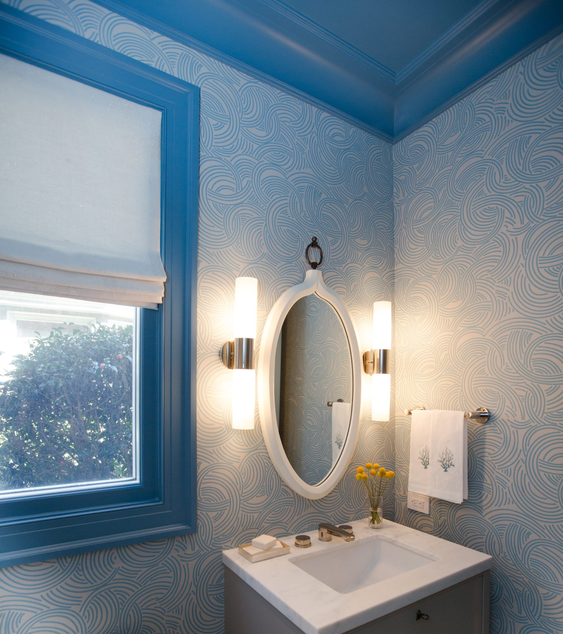 Whimsical Blue Powder Room by Marsh & Clark Design