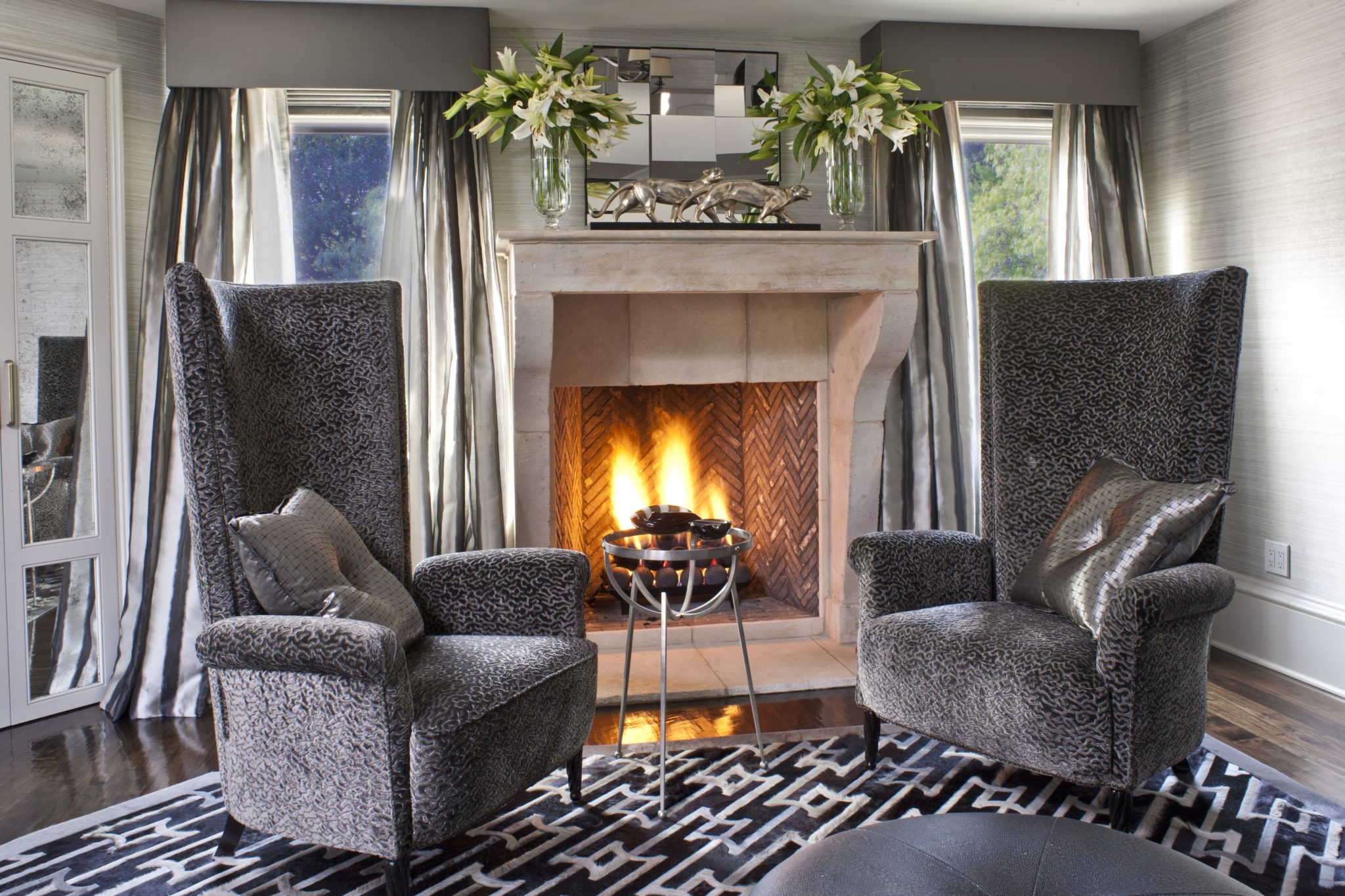 Hidden Hills master fireplace by Jeff Andrews Design