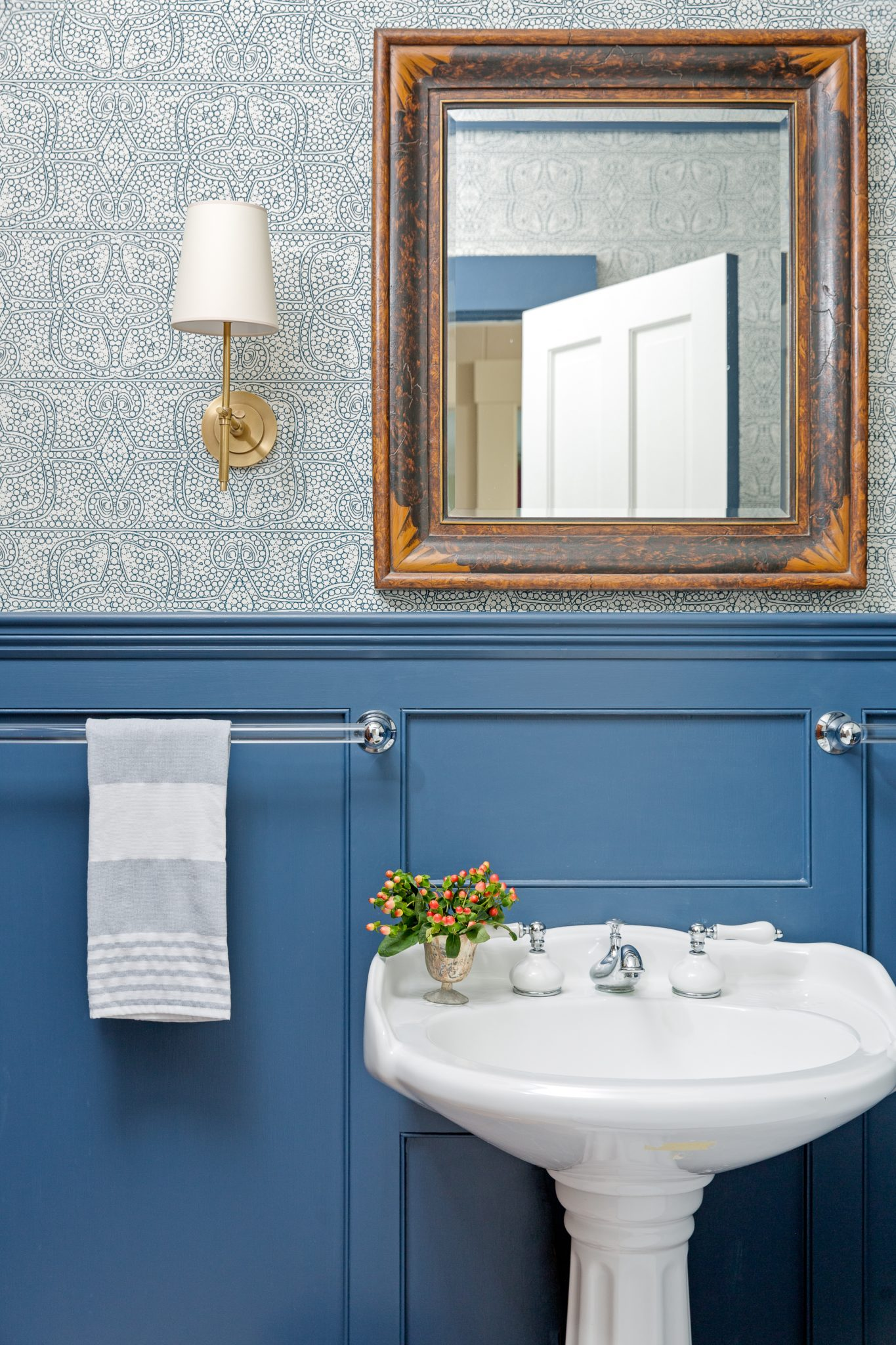 French Blue Powder Room by Kennerknecht Design Group