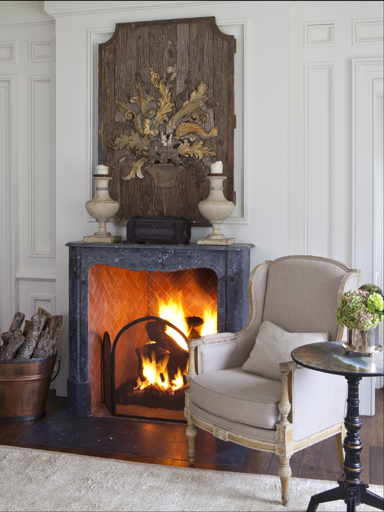 Country Home Bellville Master Fireplace by Ginger Barber Design