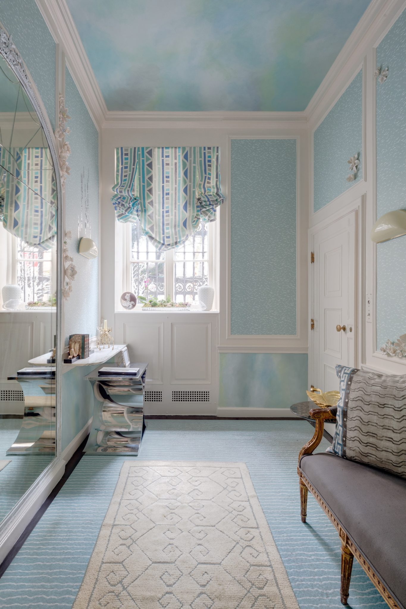 Traditional Home Holiday House Powder Room by Laura Krey Design