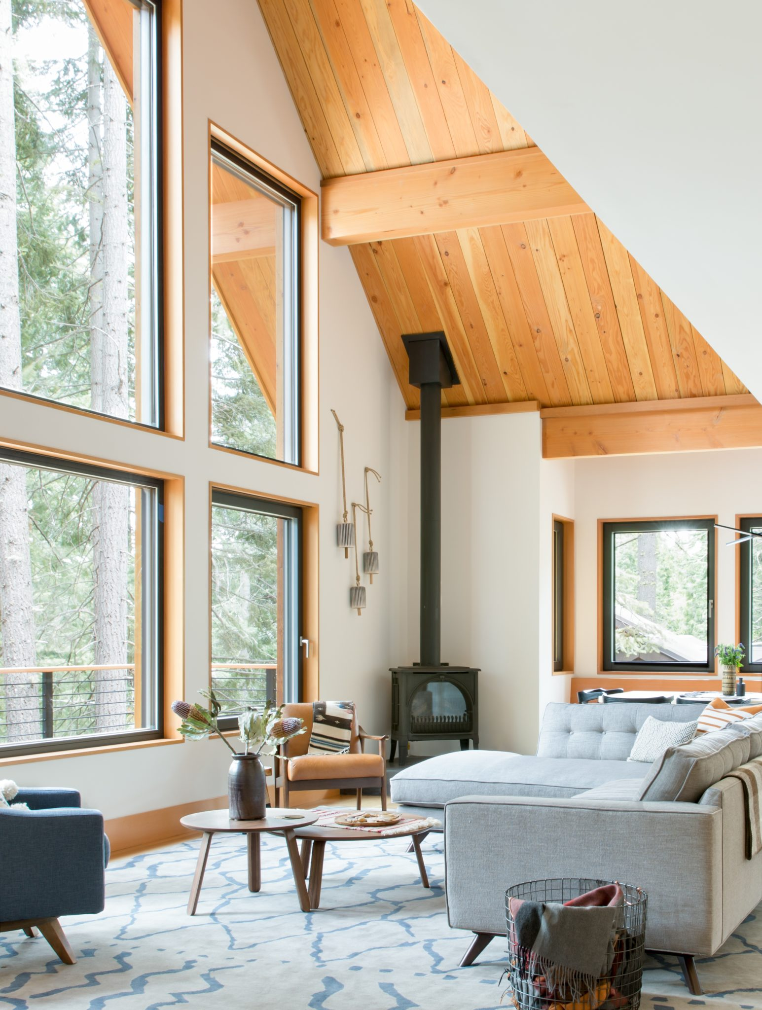 Woodsy Tahoe Cabin- Living Room by Regan Baker Design