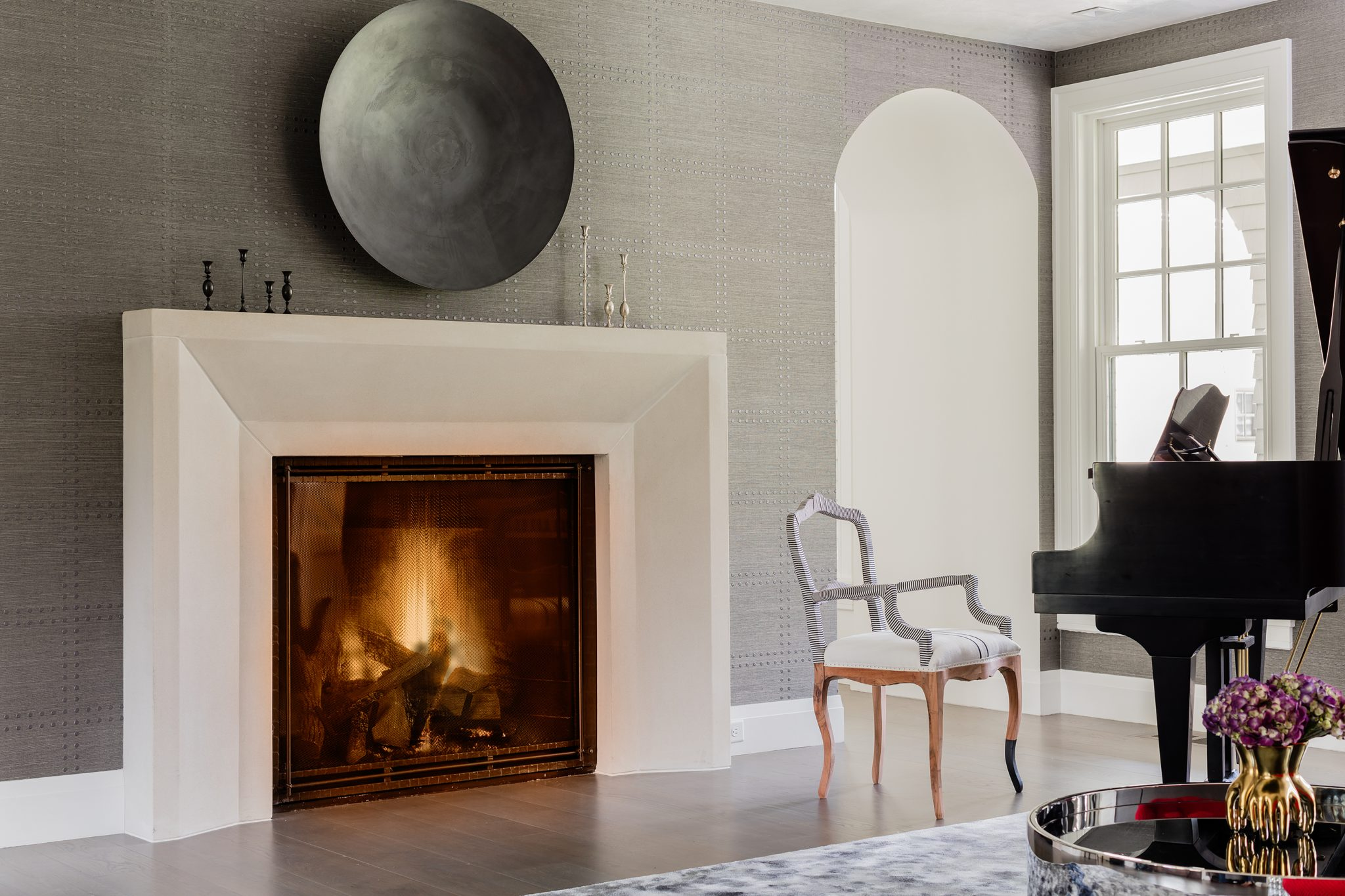 Modern Farm House - Music Room with a cast concrete fireplace by Atsu Gunther Design