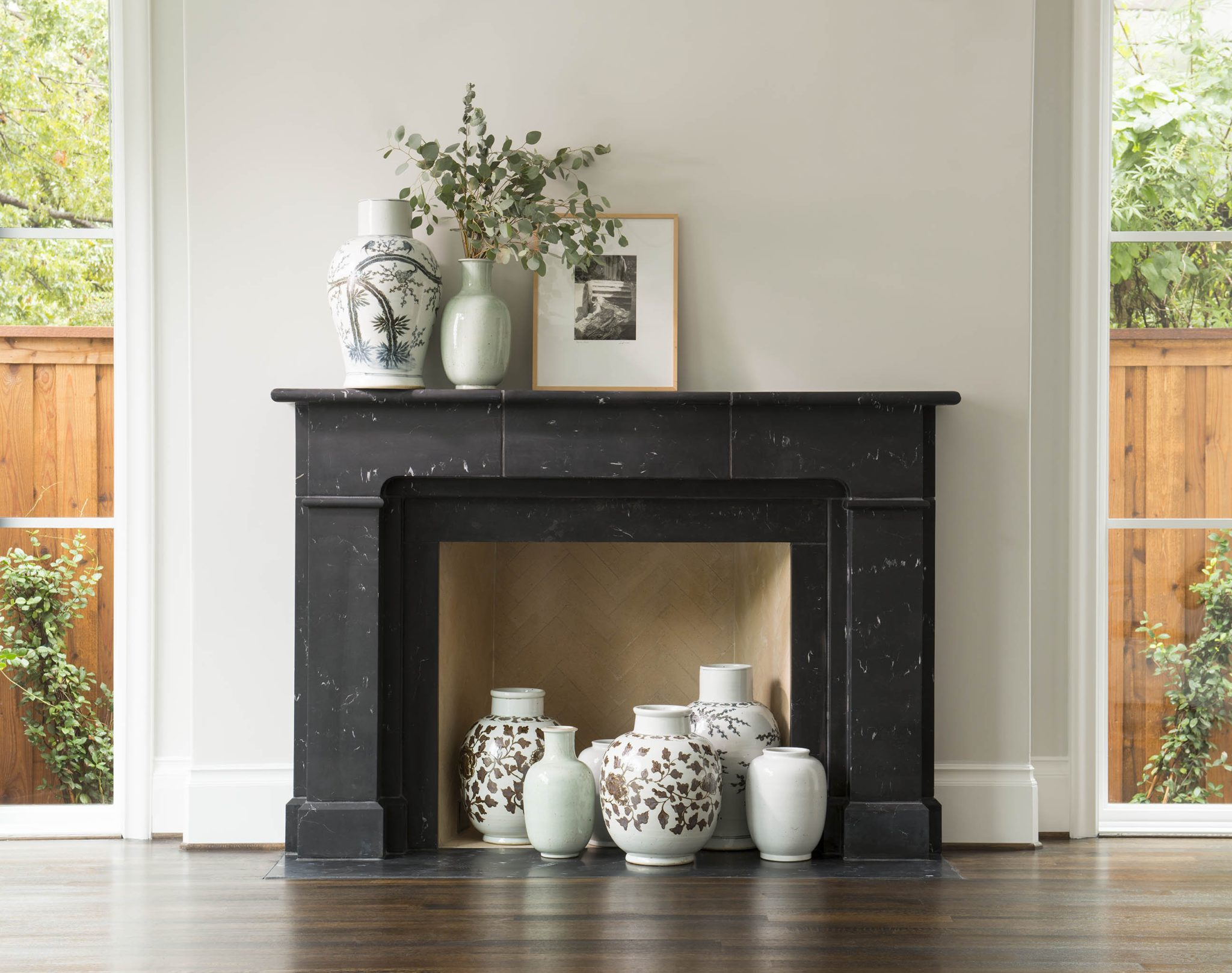 Custom Living Room Fireplace by Denise McGaha Interiors