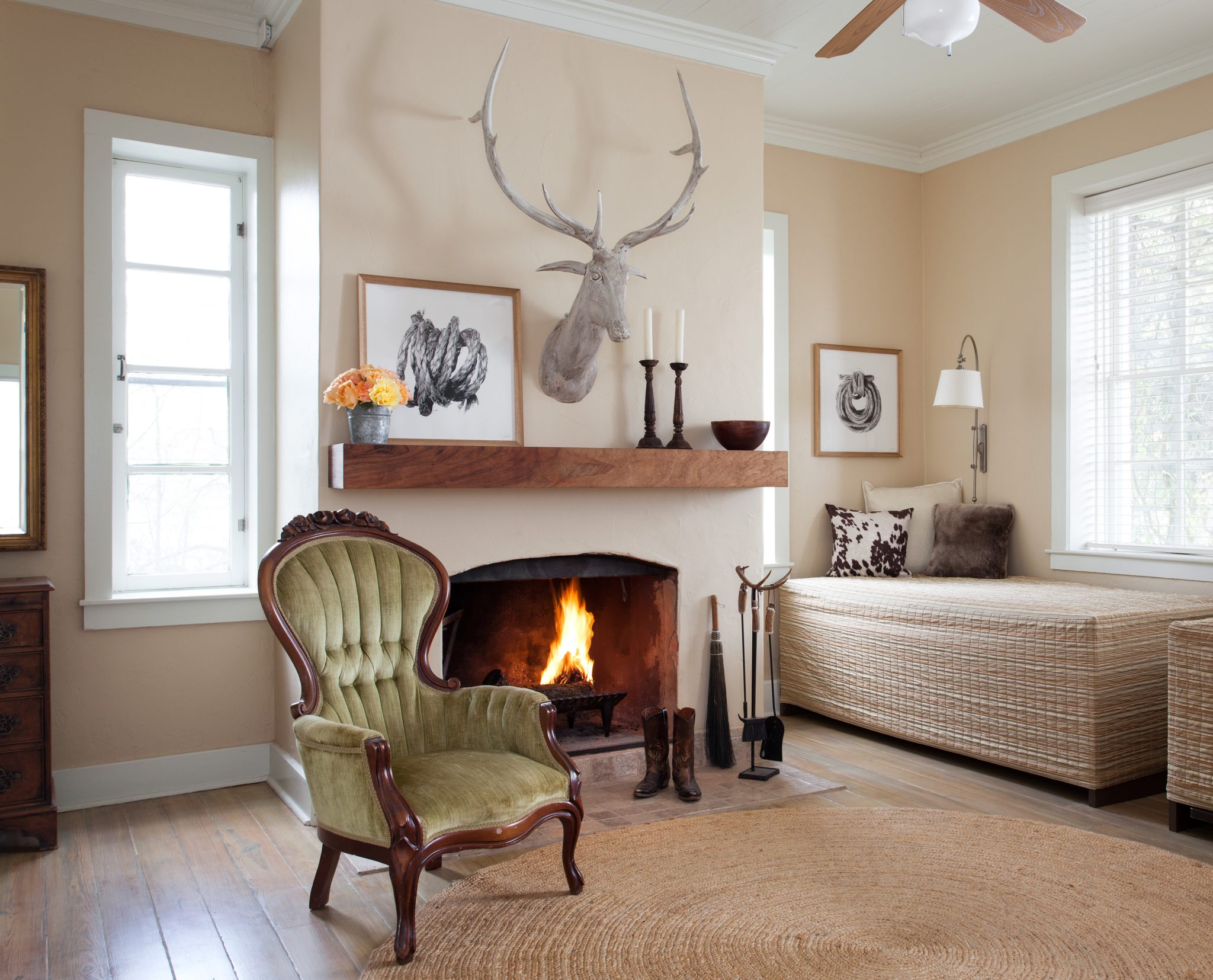 LBJ's Mother's Childhood Home - Guest Room with Fireplace by J. Fisher Interiors