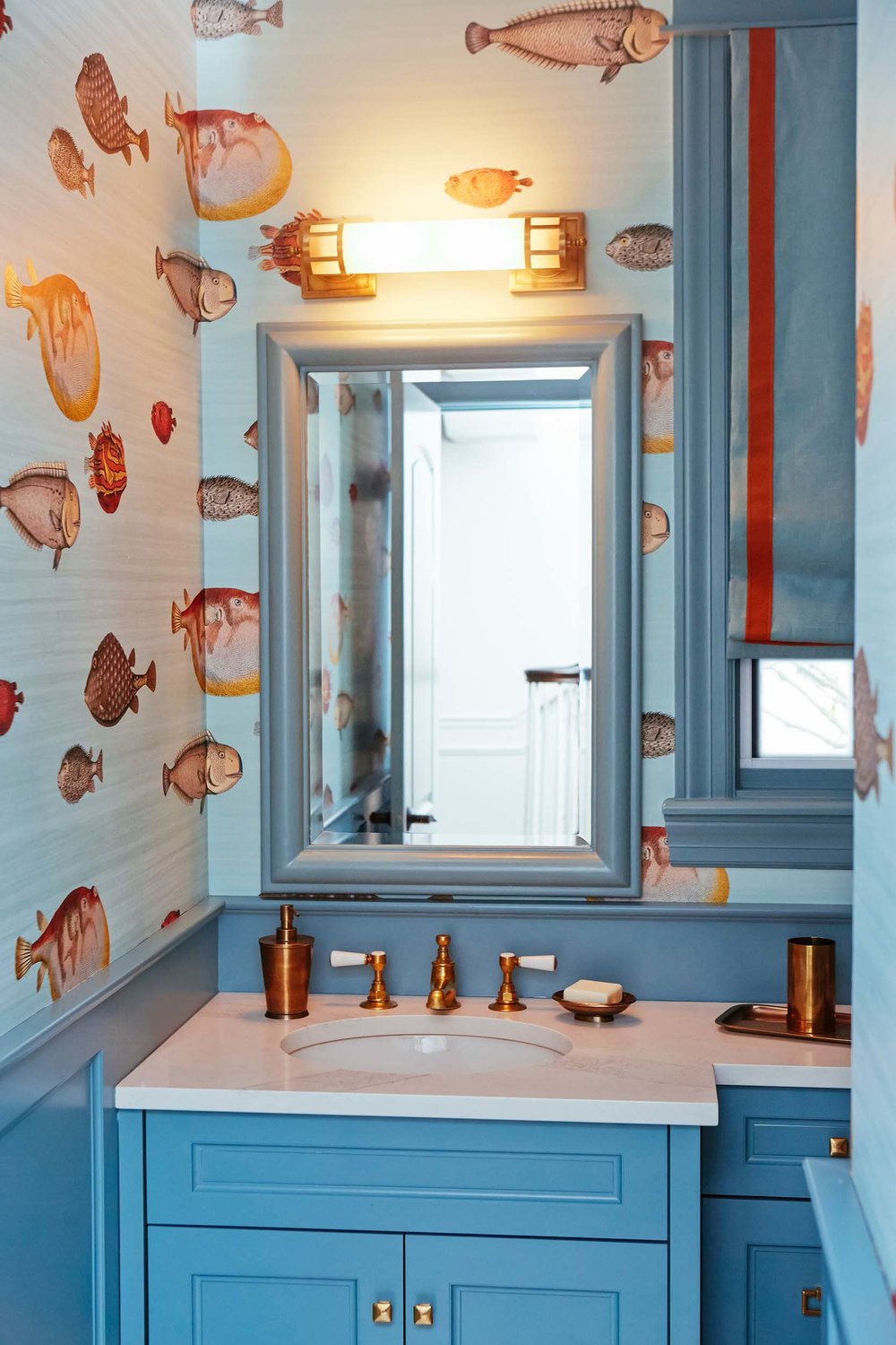 A Colorful Renovation, Powder Room by Leo Designs Chicago