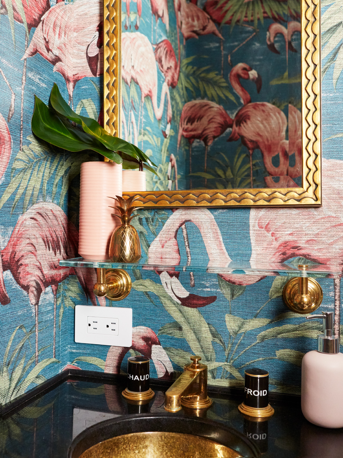 Upper West Side statement powder room with gold accents and flamingo wallpaper by Allison Garcy Interiors