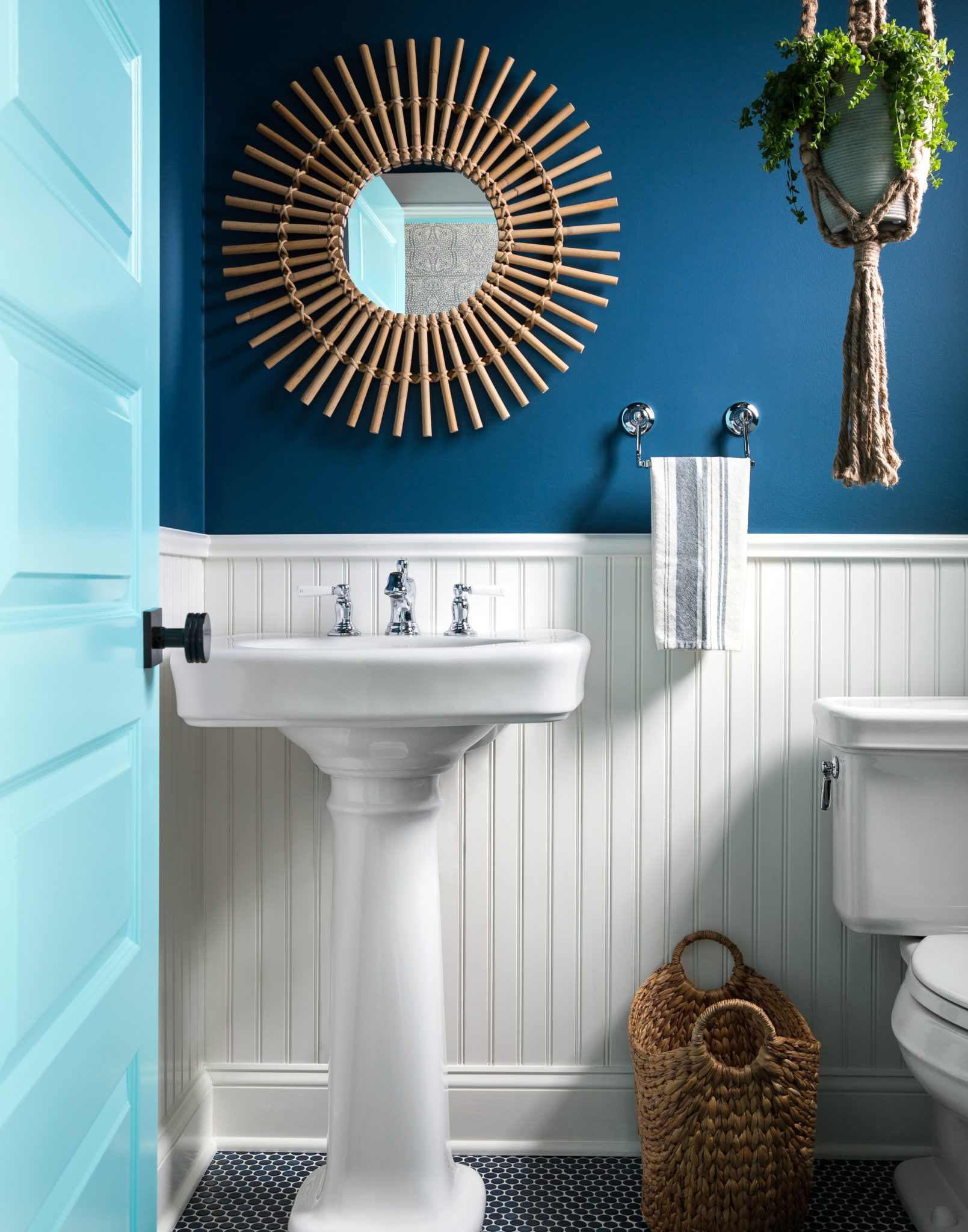 Cottage style powder room in Hampton's weekend home by Bella Mancini Design