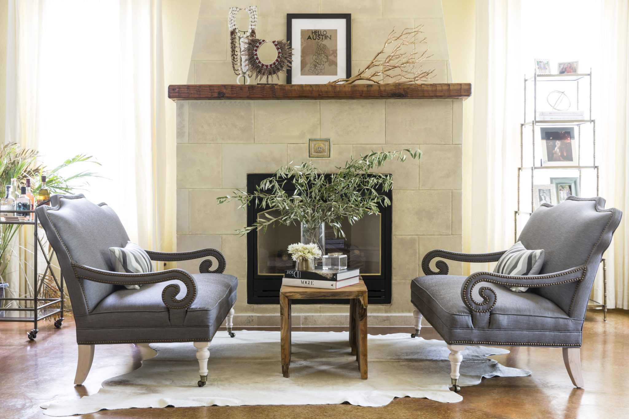 California Casual - Fireplace Seating + Neutral Accessories by Maureen Stevens Design