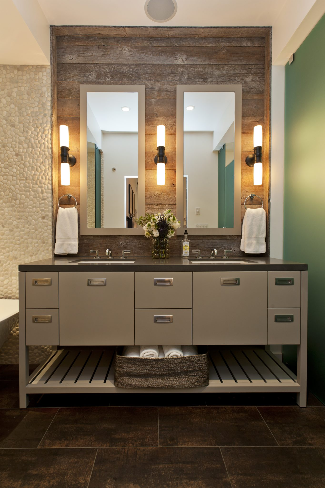 Nature-inspired master bathroom with rustic reclaimed wood by Fiorella Design, LLC