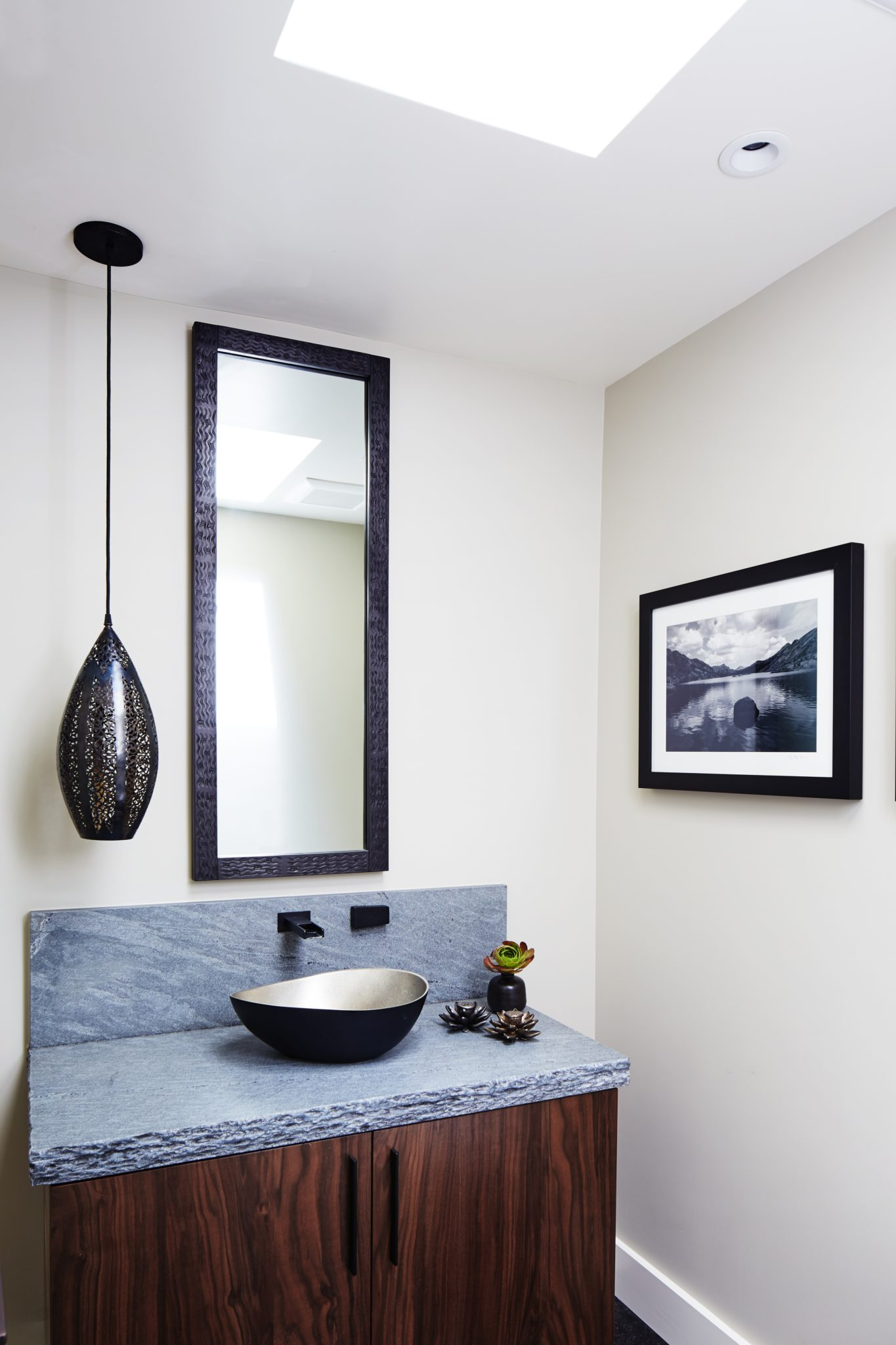 Powder Room with Moroccan Pendant Light by Staprans Design