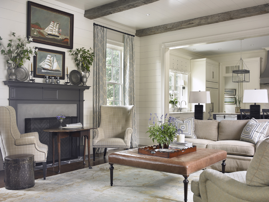 A neutral, yet stylish, family room by Susan B. Bozeman Designs