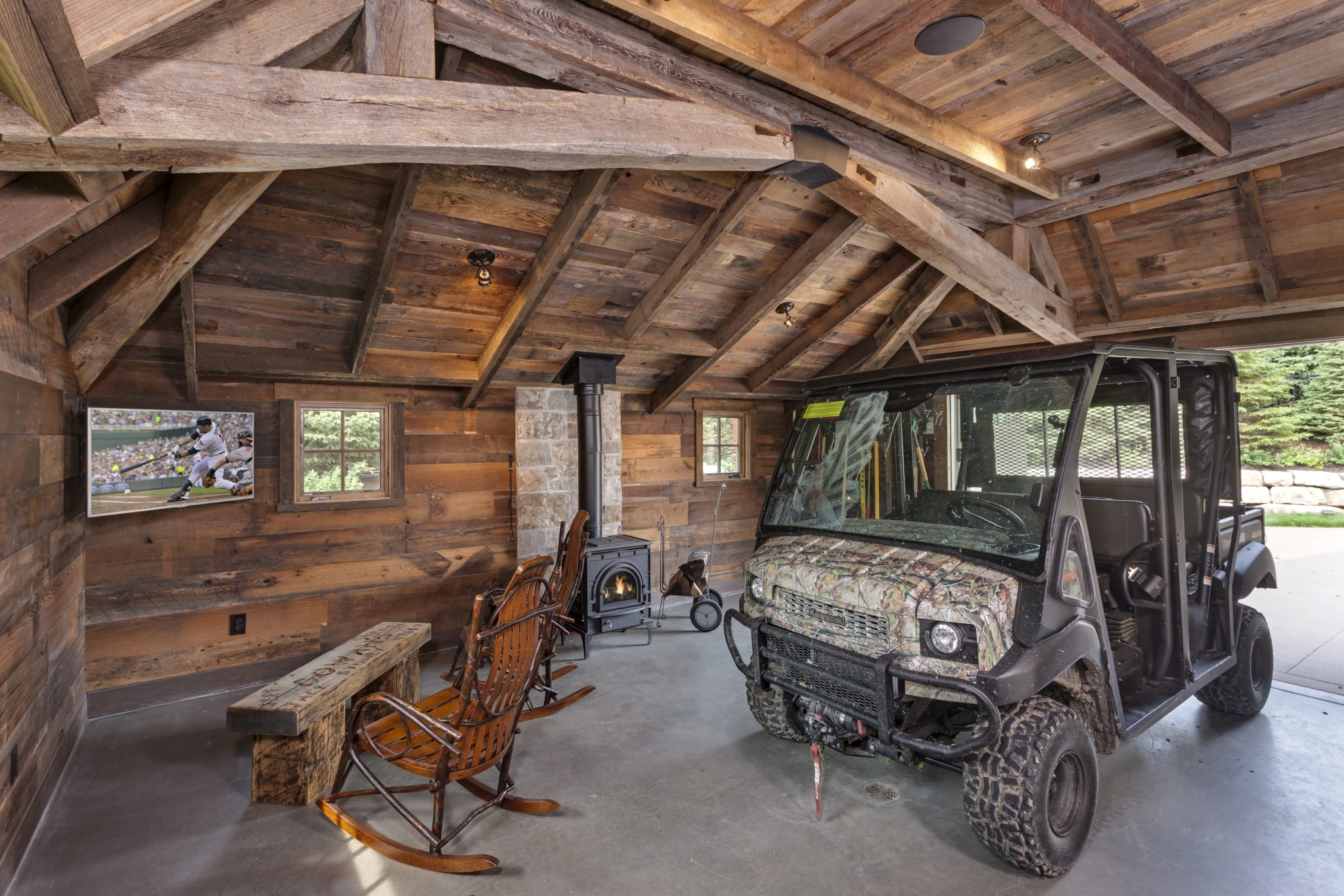 Rustic man cave garage by Murphy & Co. Design