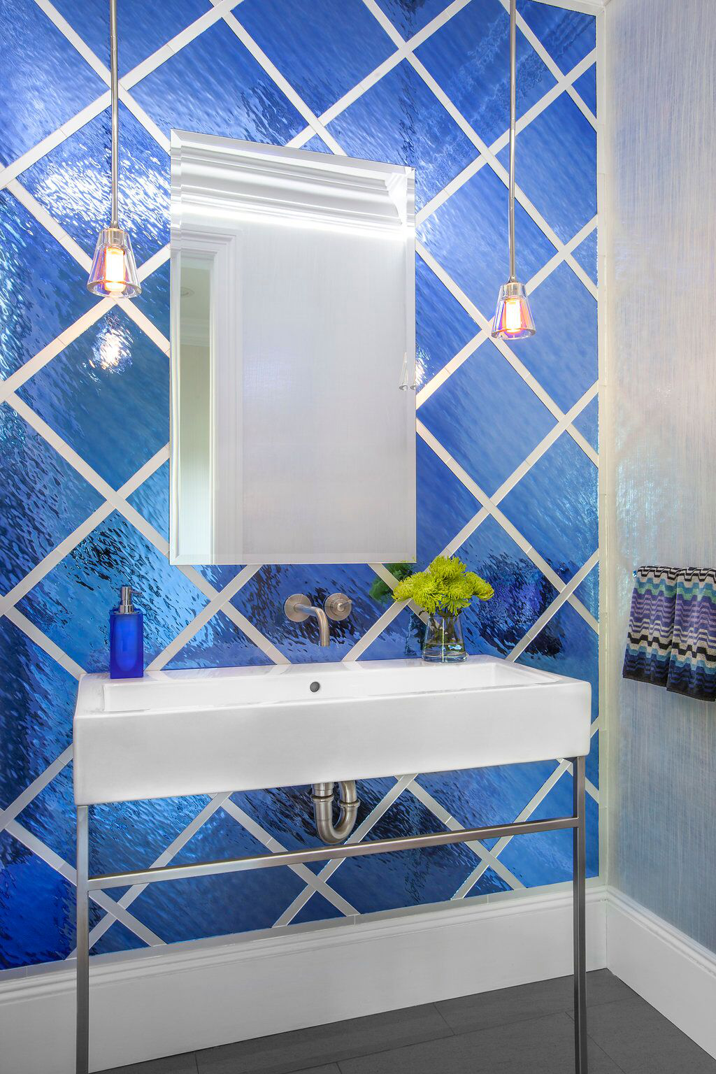 Vibrant, Bold Contemporary Cobalt Blue Powder Room - Iridescent Glass Tiles by Evelyn Benatar New York Interior Design, Inc.