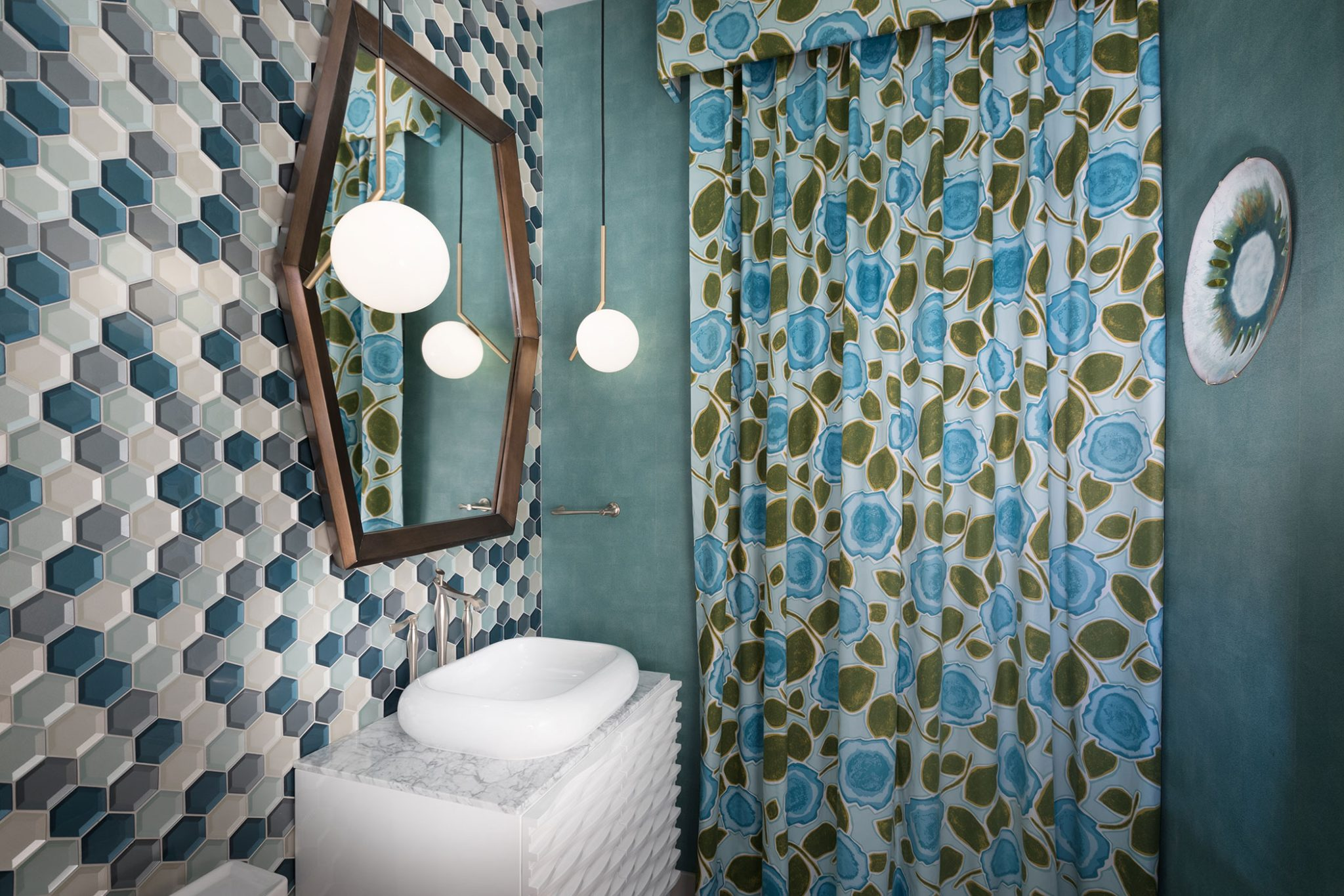 Palm Springs Pastime, powder bath aqua mosaic and wall covering by Aspen Leaf Interiors, Inc.