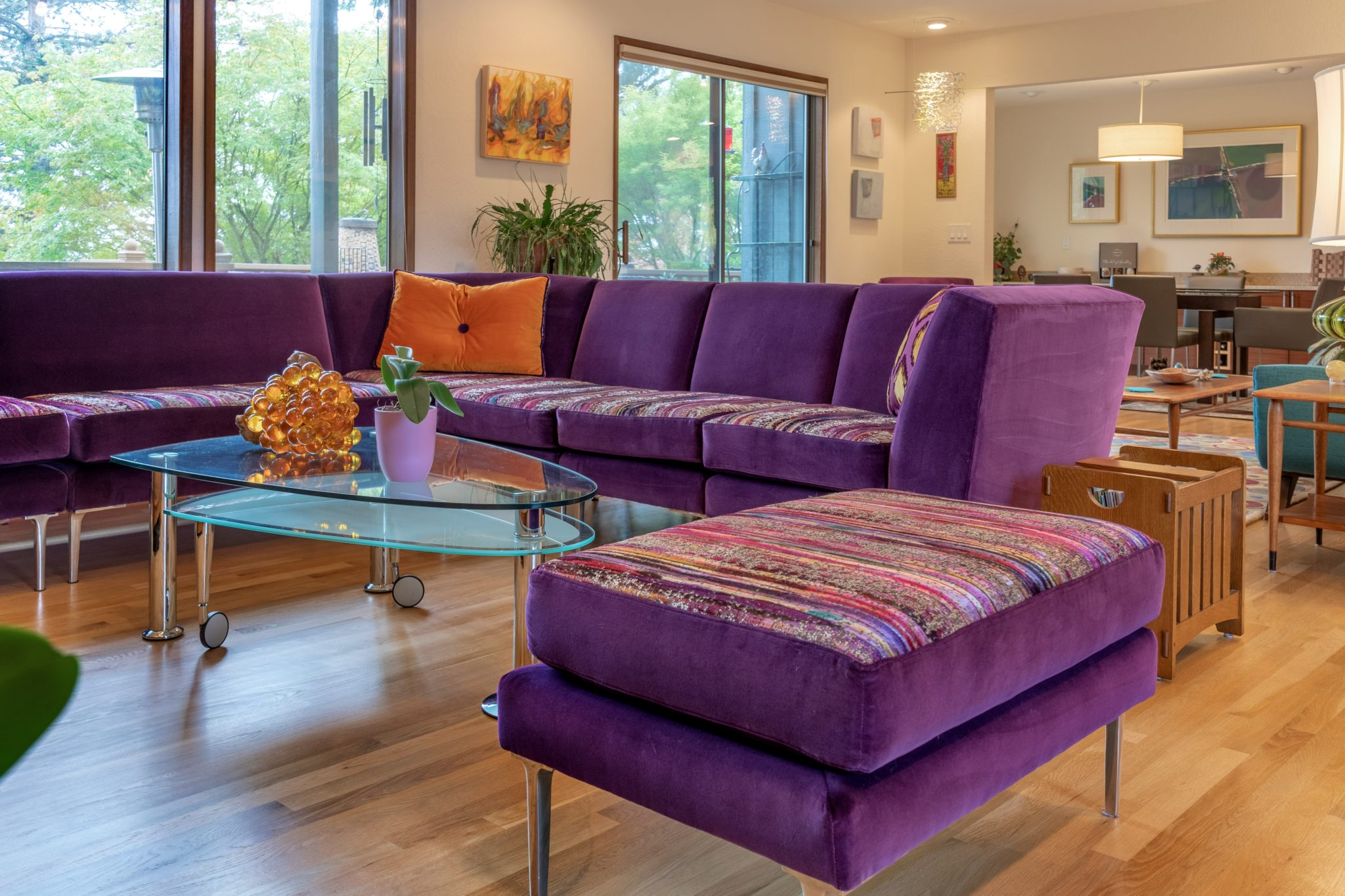 SW Portland, OR: Modern Living room with a vivid purple velvet sectional sofa. by John Thompson Designer