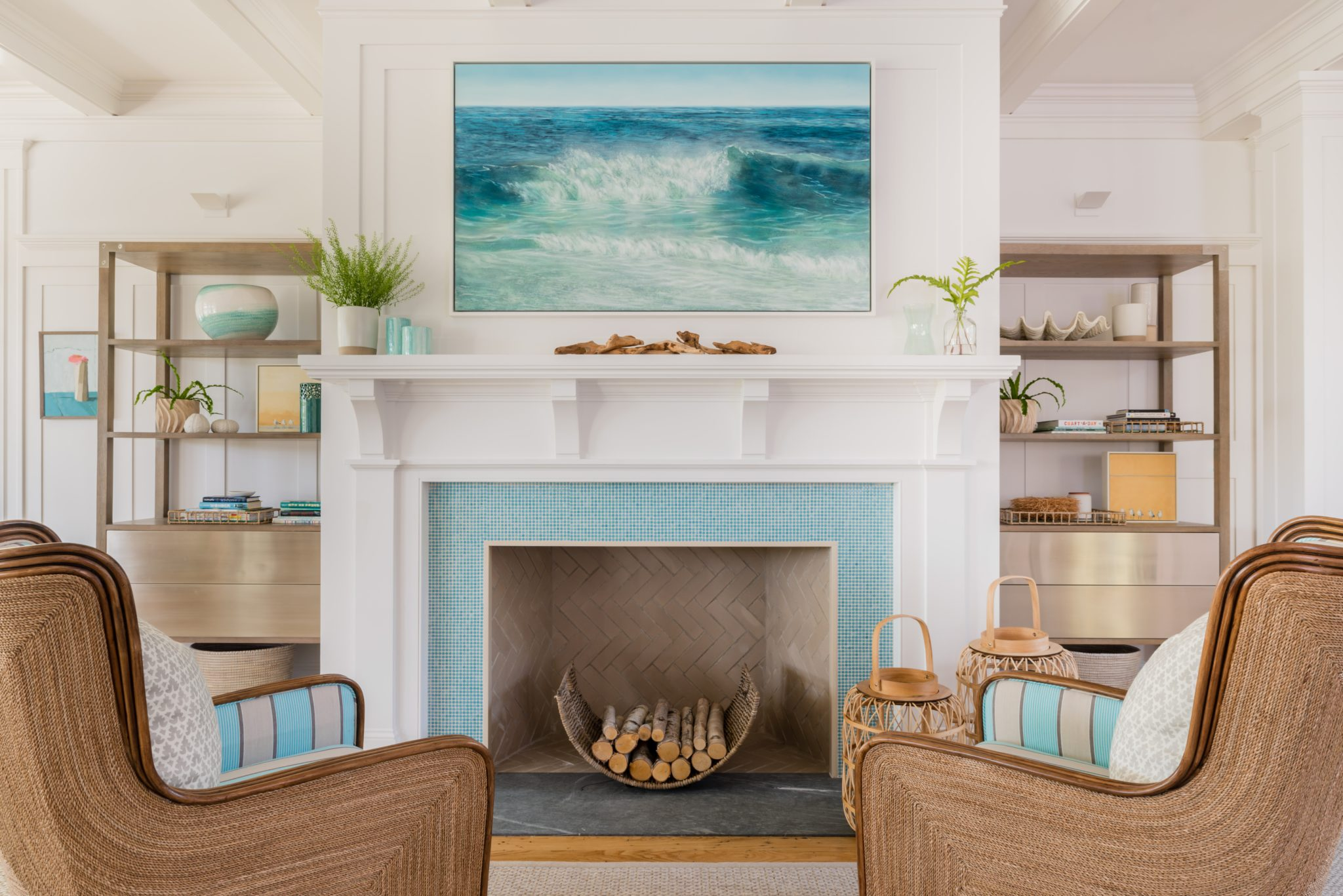Osterville Coastal House - Fireplace Area with Soft Seating by Justine Sterling Design