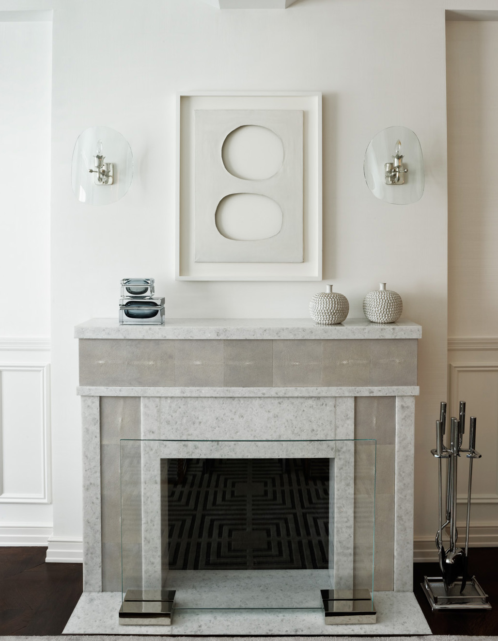 dessins created this shagreen and marble unique fireplace surround by Penny Drue Baird - Dessins LLC