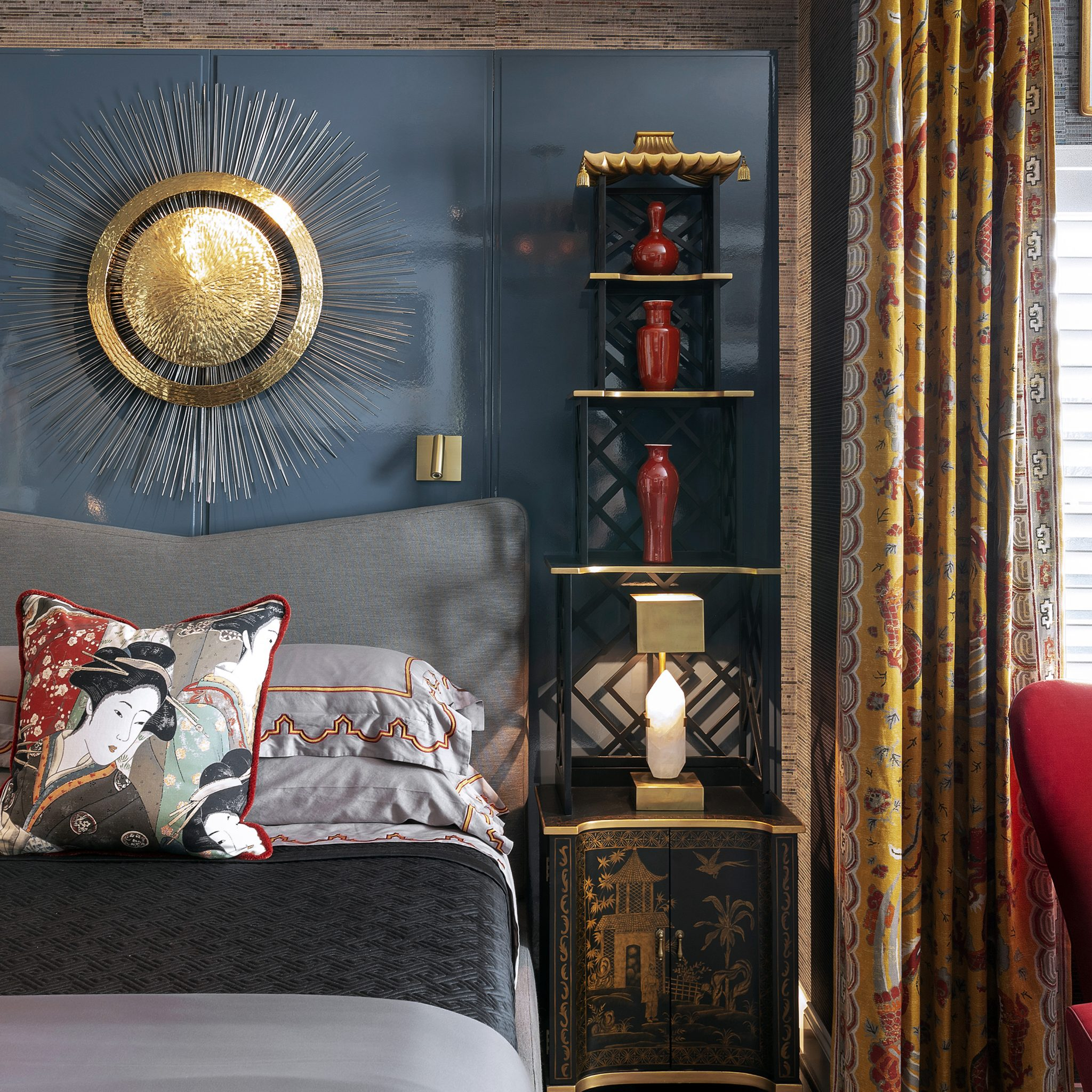 Exotic Bedroom with Bold Accents and Custom Lacquered Screen by Benjamin Johnston Design