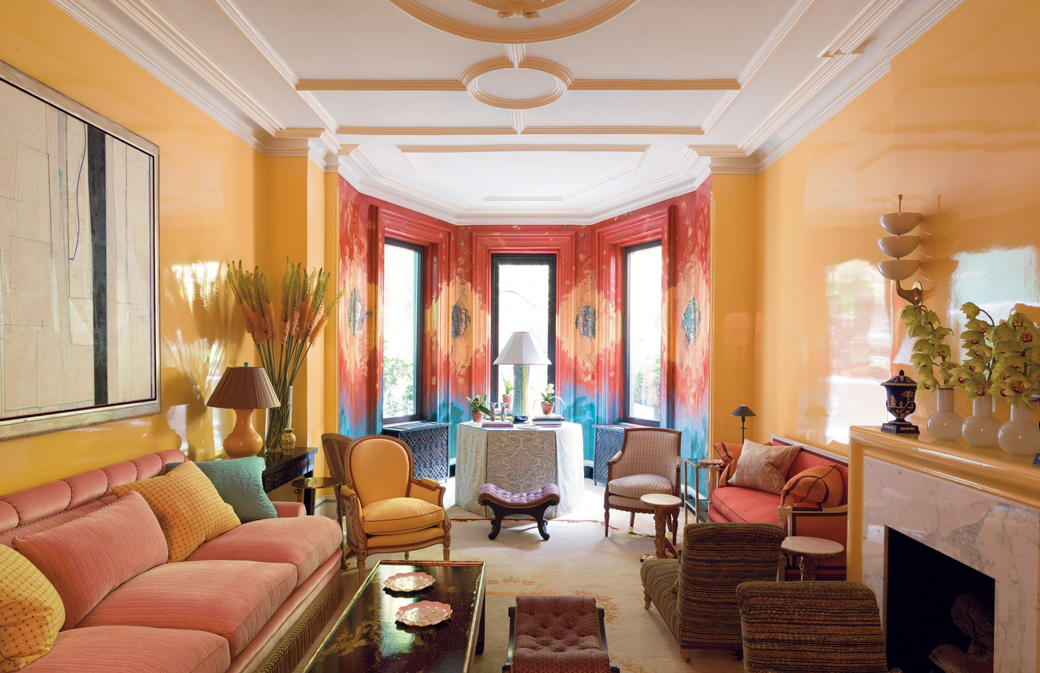 A glamorous New York City townhouse is invigorated with bold color and murals. By Bilhuber & Associates