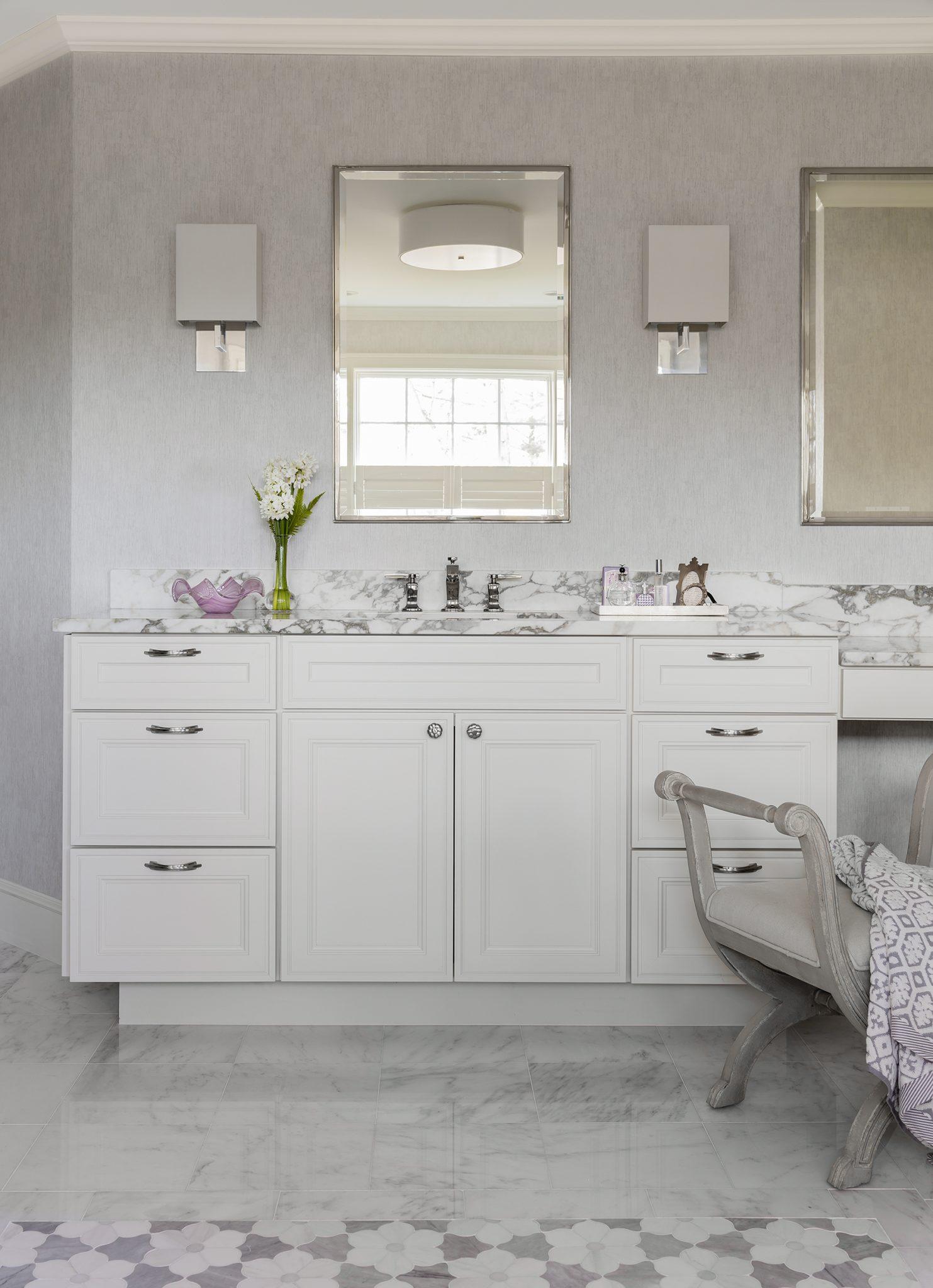 A light-filled master bathroom by Tiffany Leblanc of LeBlanc Design, LLC