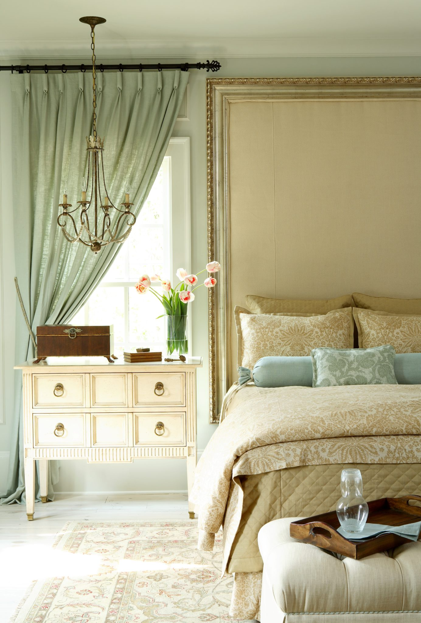 Marietta Residence Master Bedroom with custom headboard and trim panels by J. Hirsch Interior Design