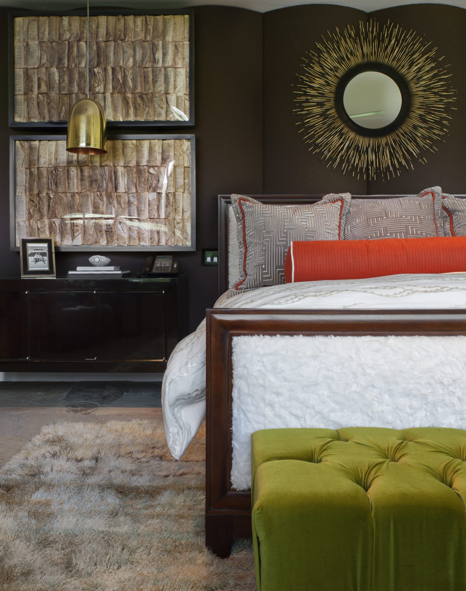 Modern bedroom with metal accents and splashes of color! by Andrea Schumacher Interiors